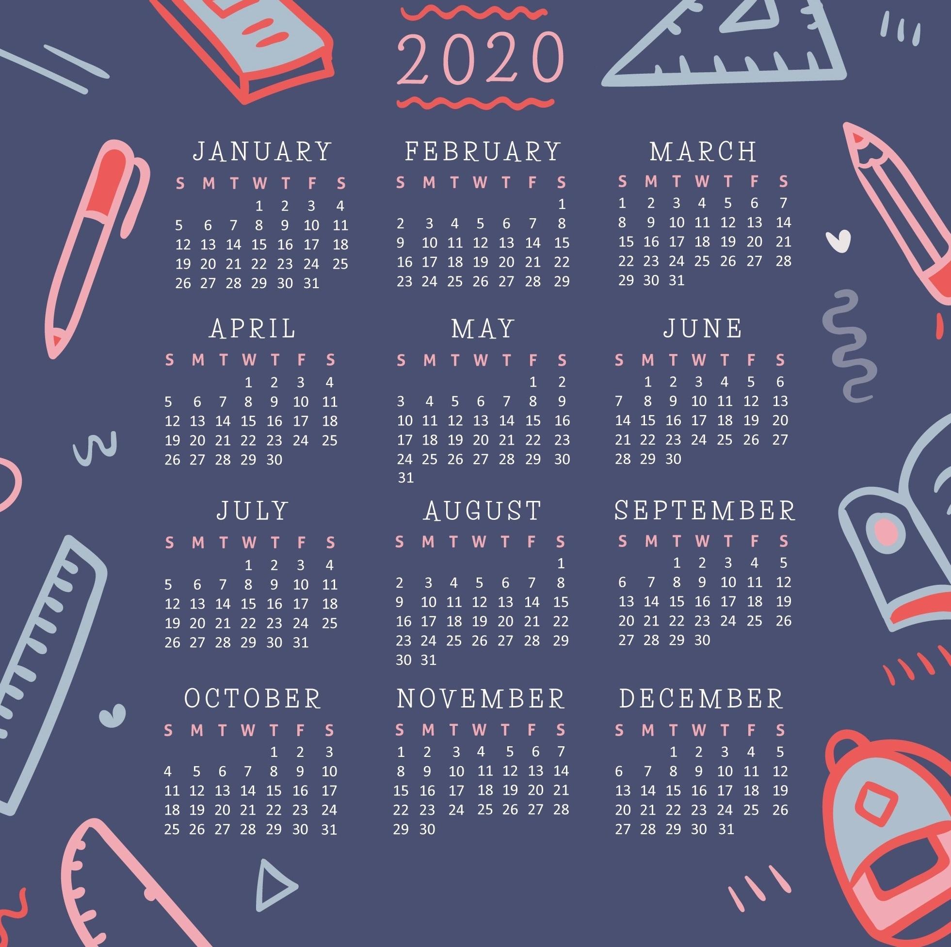 10+ Aesthetic Calendar Wallpaper 2020 PNG