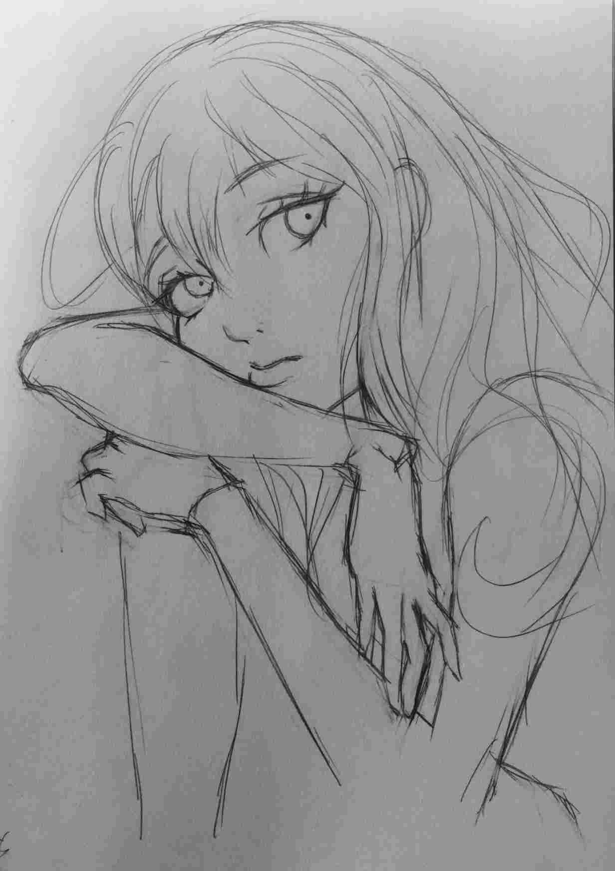 Anime Sad Drawing Wallpapers - Wallpaper Cave