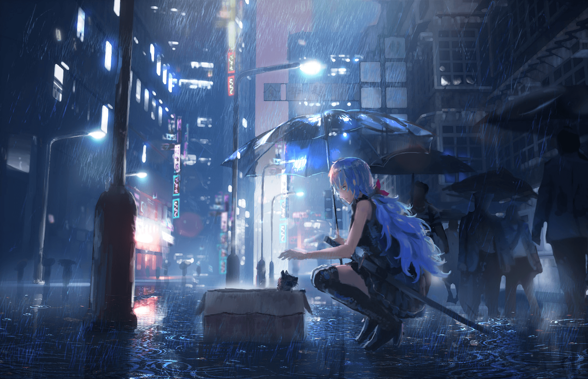 Anime Rain Girl Umbrella Wallpapers - Wallpaper Cave