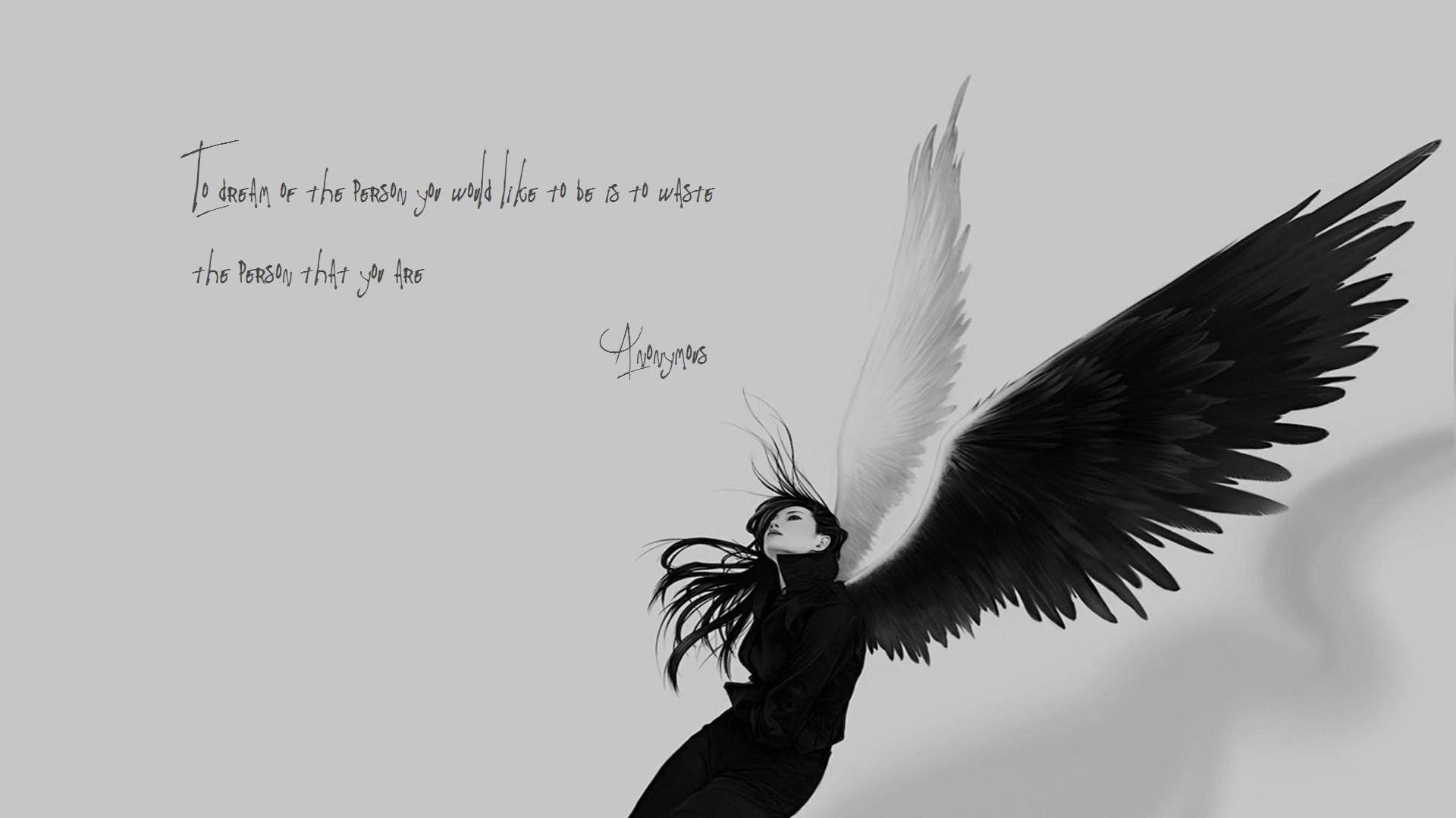 angels, wings, Anonymous, quotes, sad, monochrome :: Wallpapers