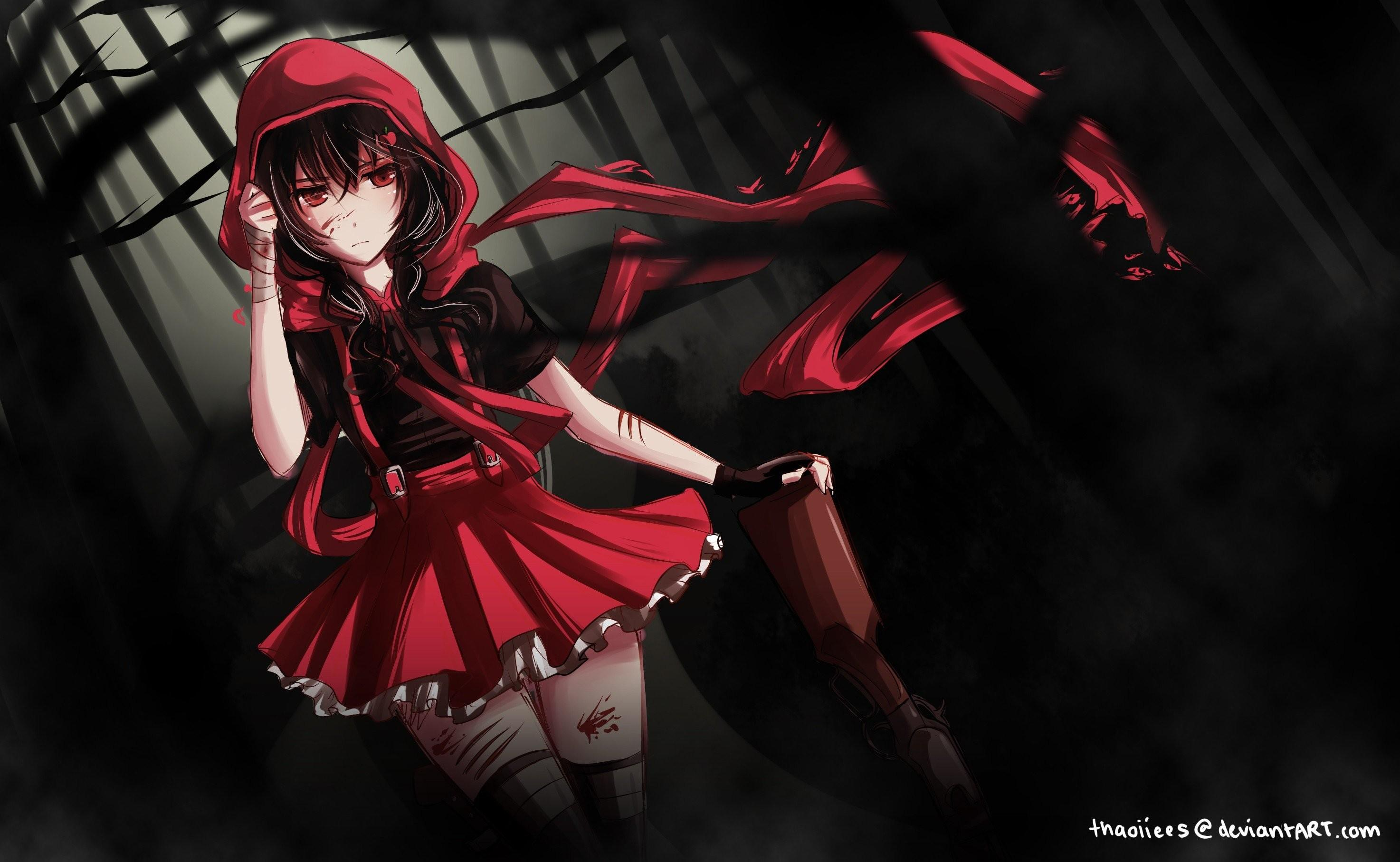 Anime Dark Red Girl Wallpapers Wallpaper Cave