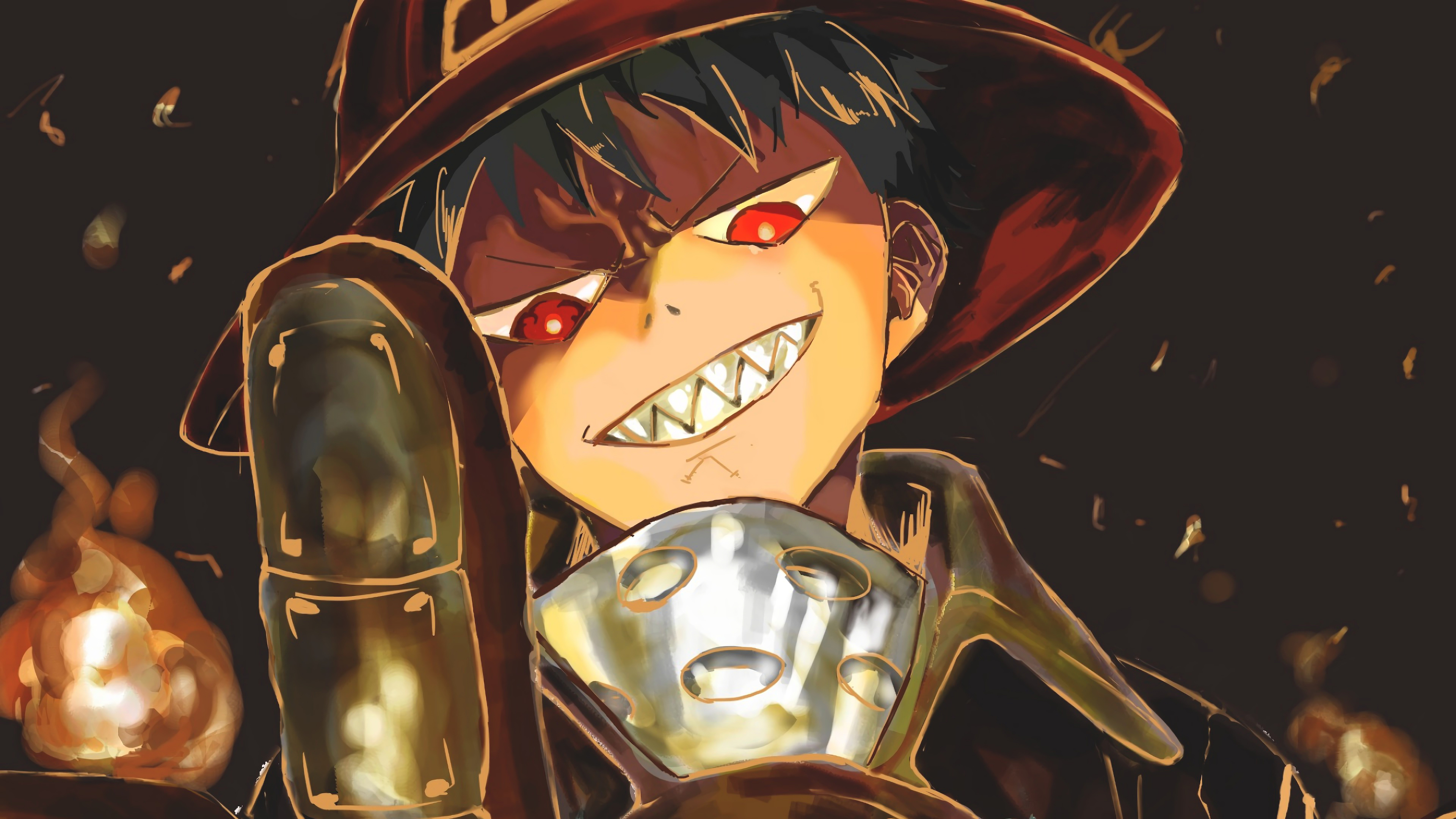 Fire Force Shinra Kusakabe Smile 4K Wallpapers