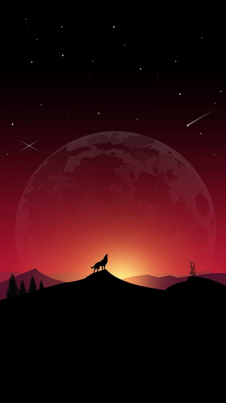 HD wallpaper: wolf, howl, loneliness, art, full moon