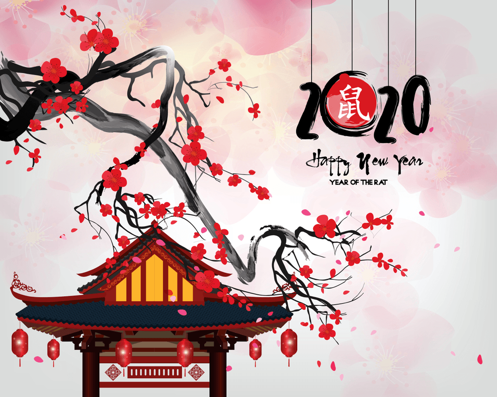 Happy chinese new year 2020 Zodiac sign, year of the rat