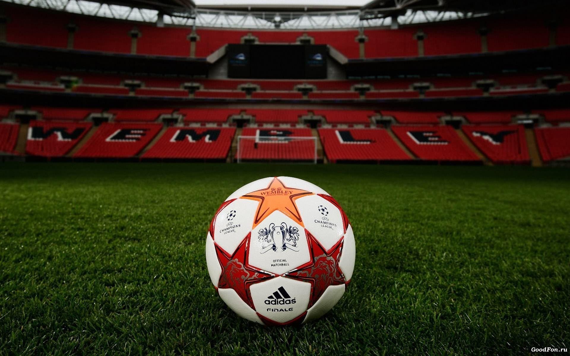 football, Champions League, ball, field, lawn, gate, podium