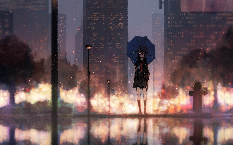 Anime Girl Umbrella Rain Wallpapers - Wallpaper Cave