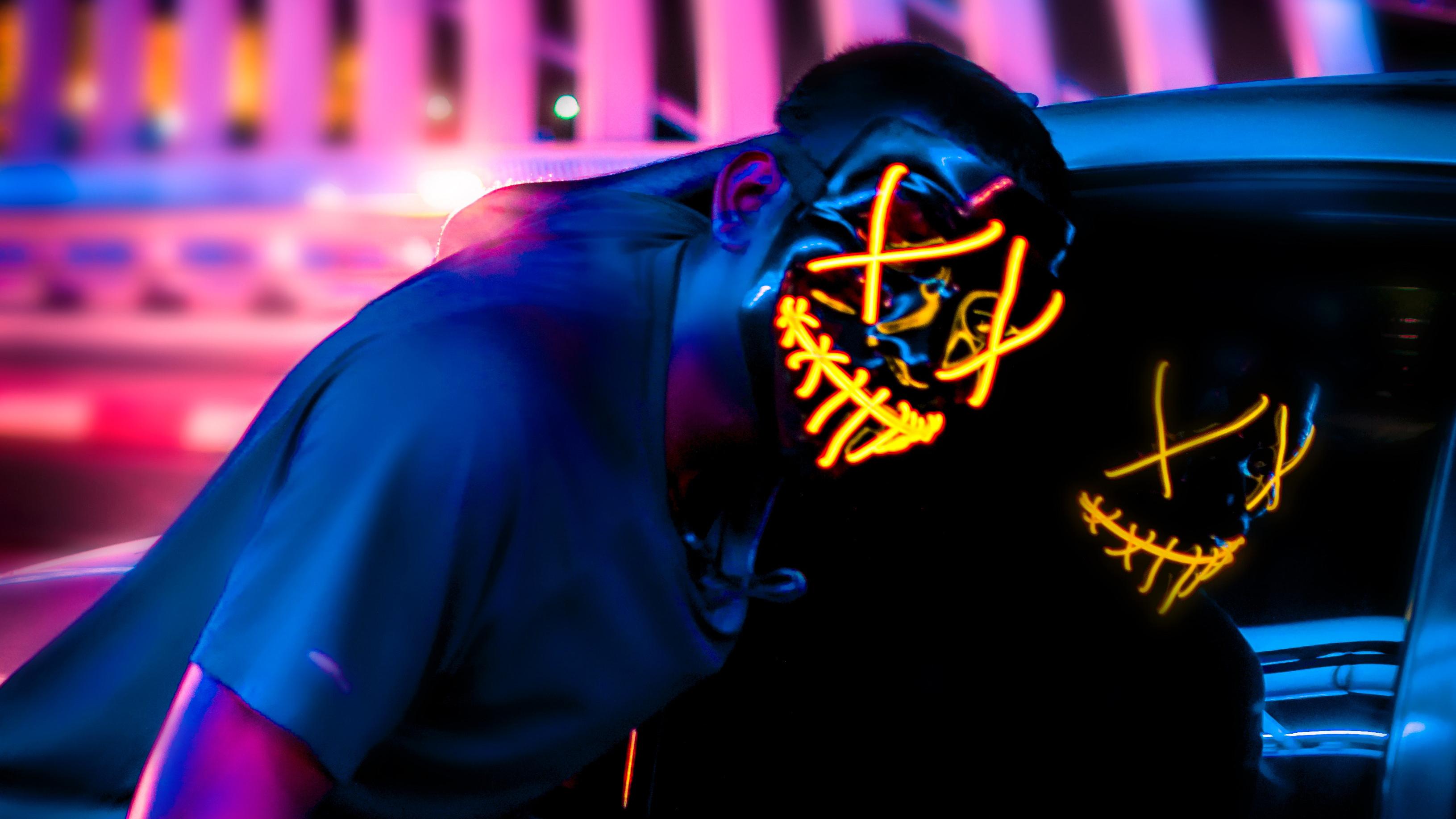 Neon Danger Mask Wallpapers Wallpaper Cave