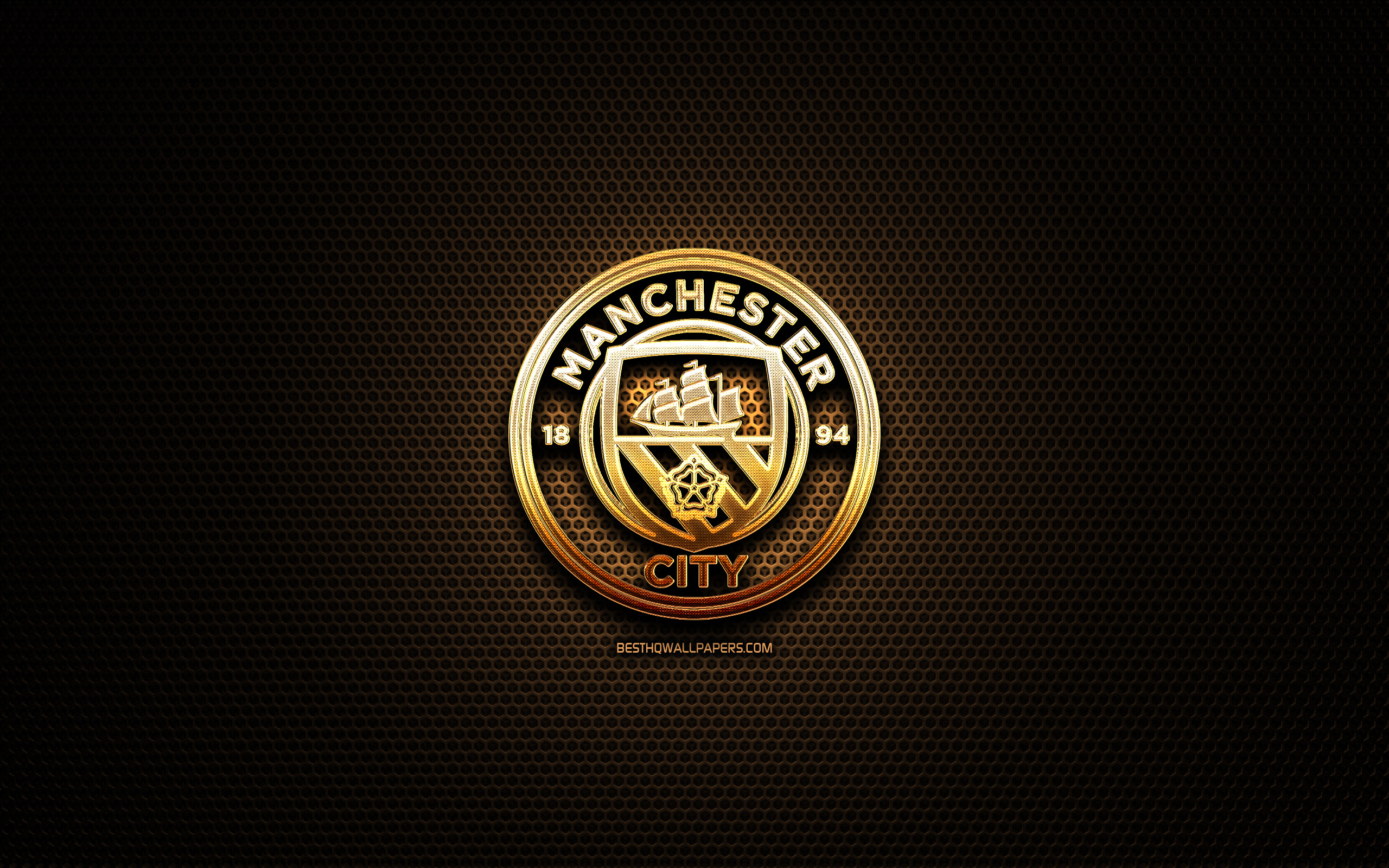 Download wallpapers Manchester City FC, glitter logo