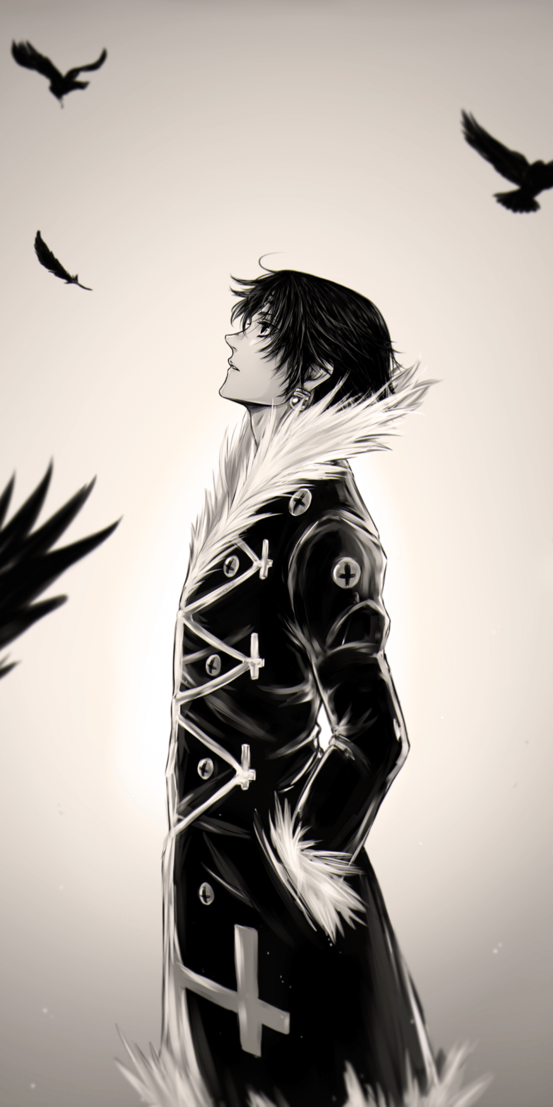 Download 1080x2160 Hunter X Hunter, Chrollo Lucilfer, Feathers
