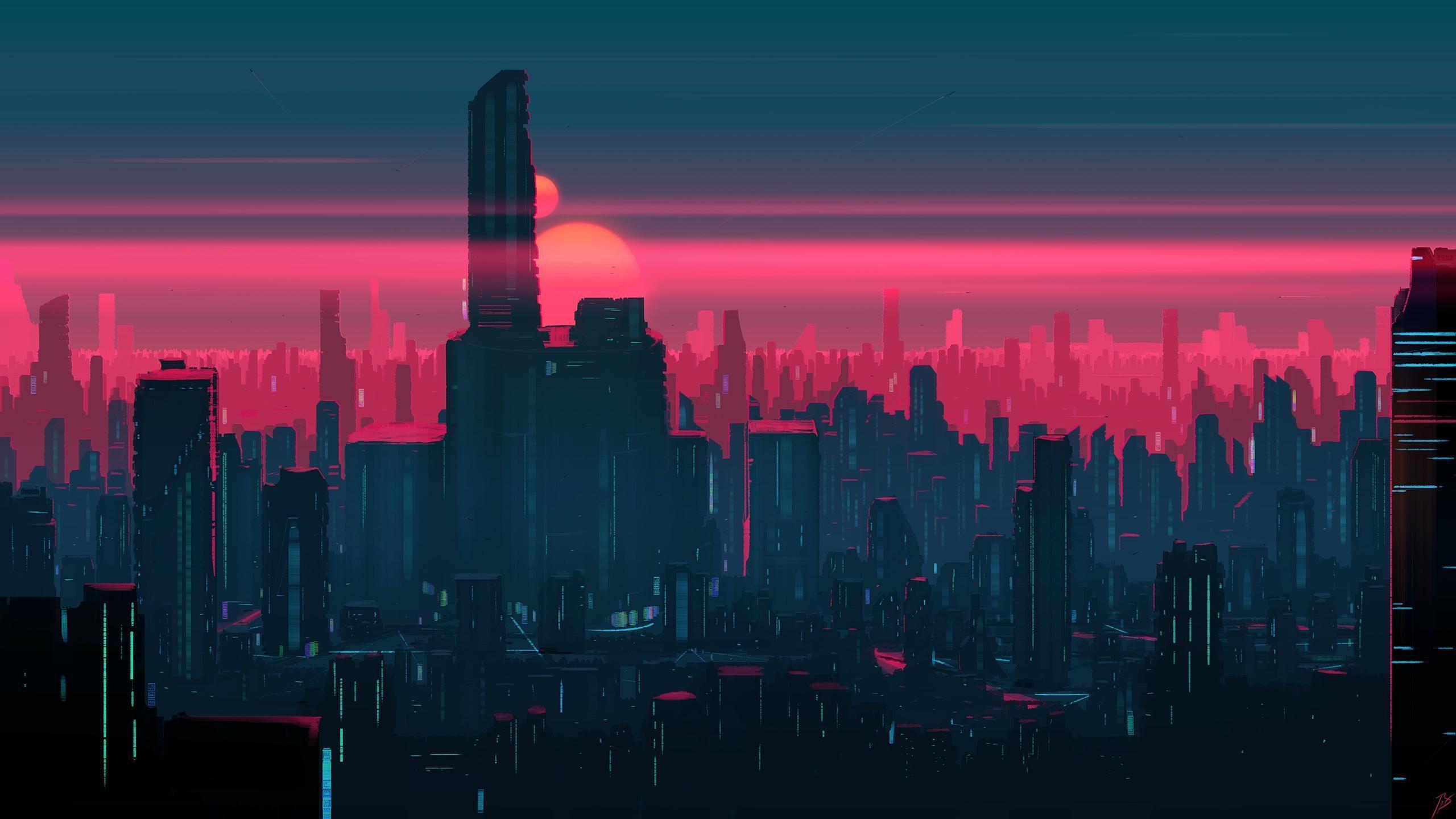 Pink Futuristic City Desktop Wallpapers Wallpaper Cave