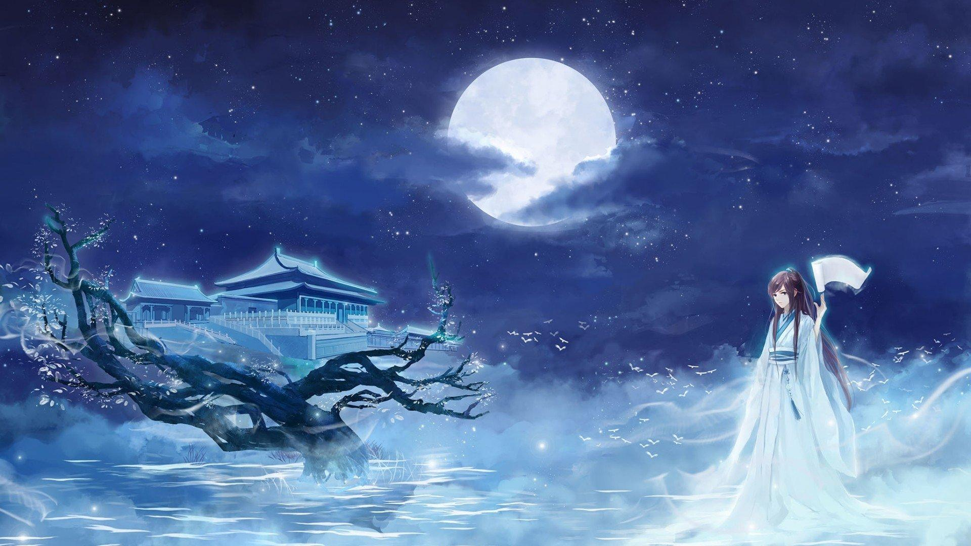 Anime Girl And The Moon Wallpapers - Wallpaper Cave