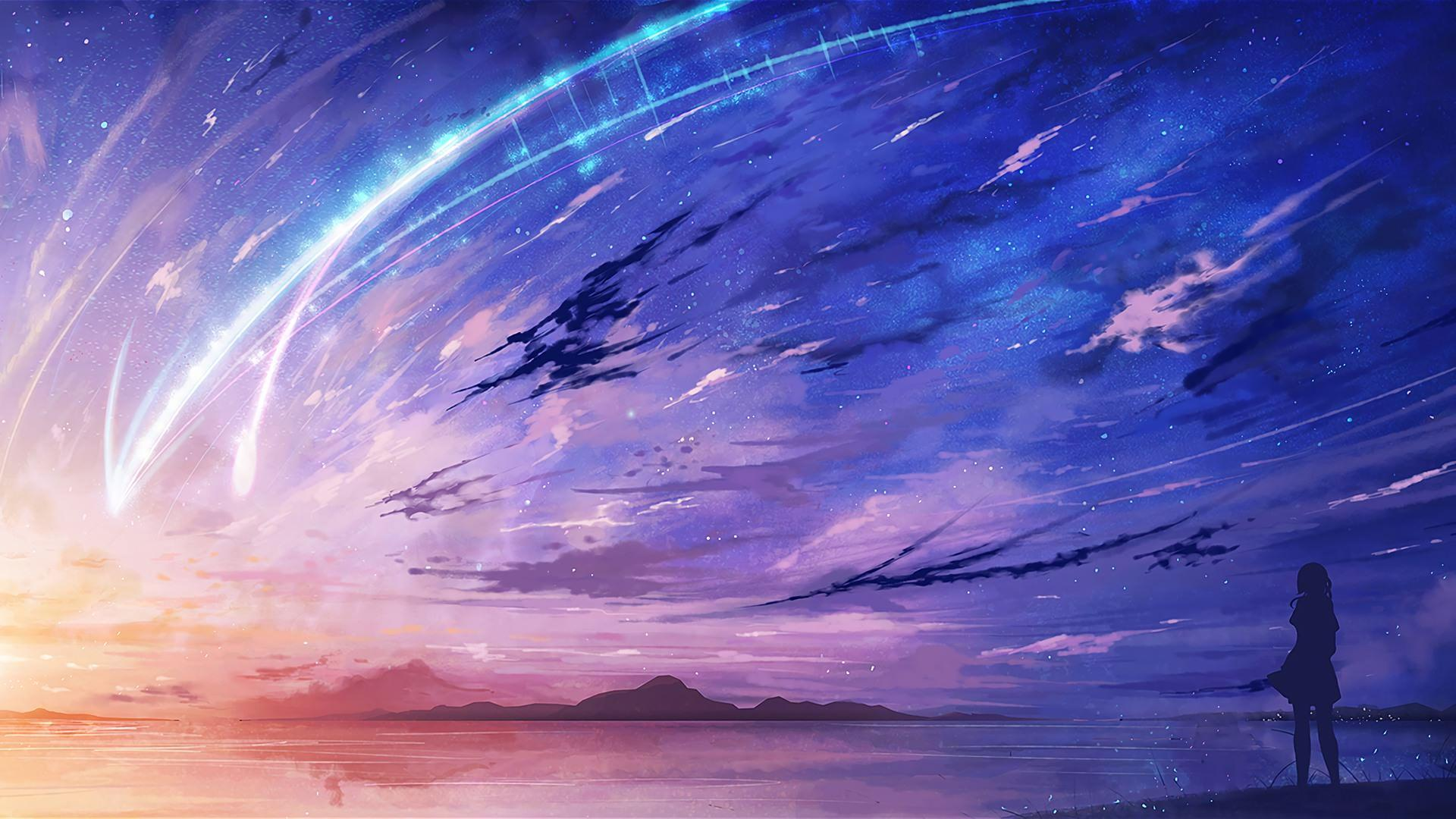 Purple Anime Sky Wallpapers Wallpaper Cave