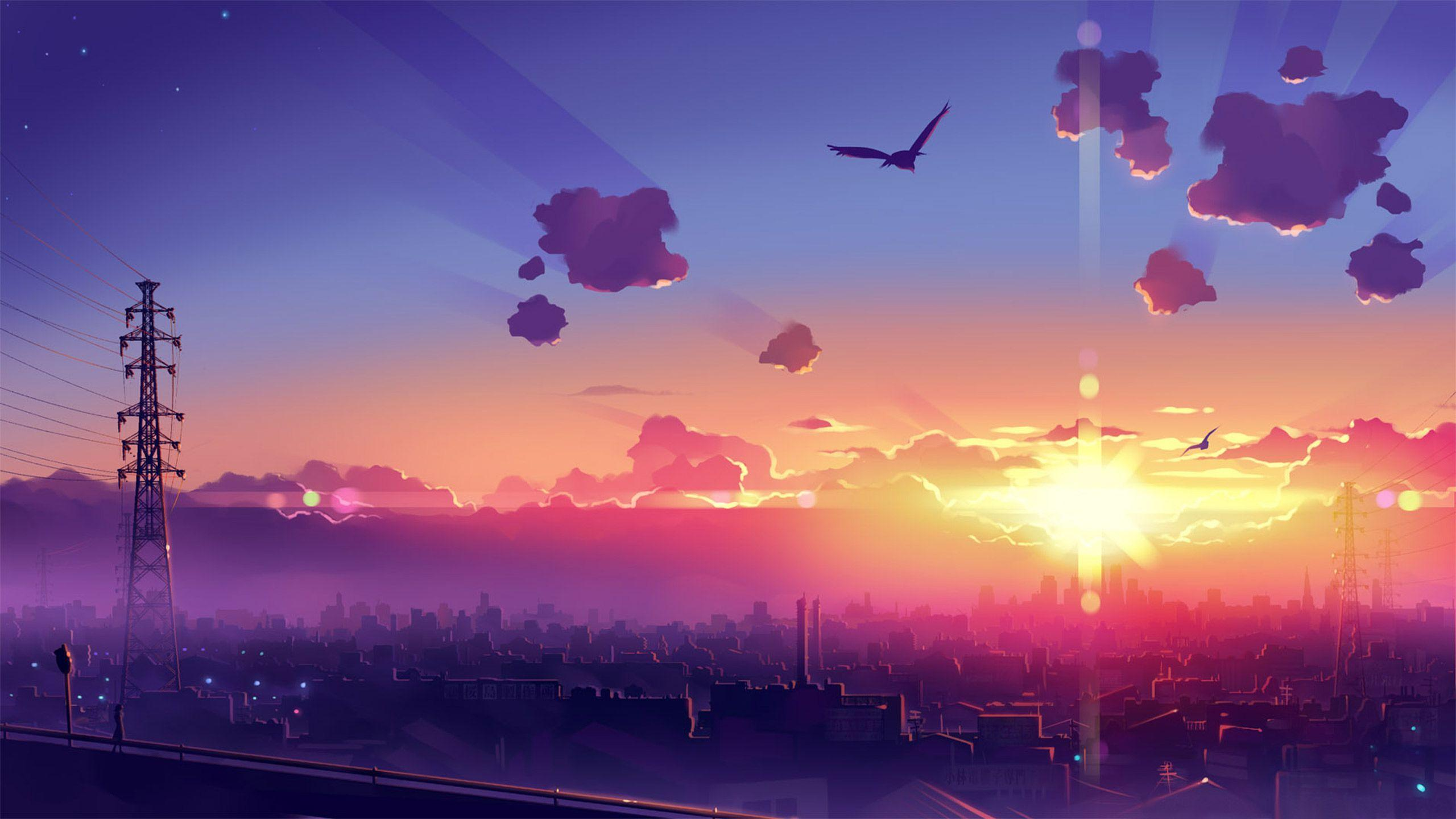 Cool Anime Purple Sunset Wallpapers Wallpaper Cave