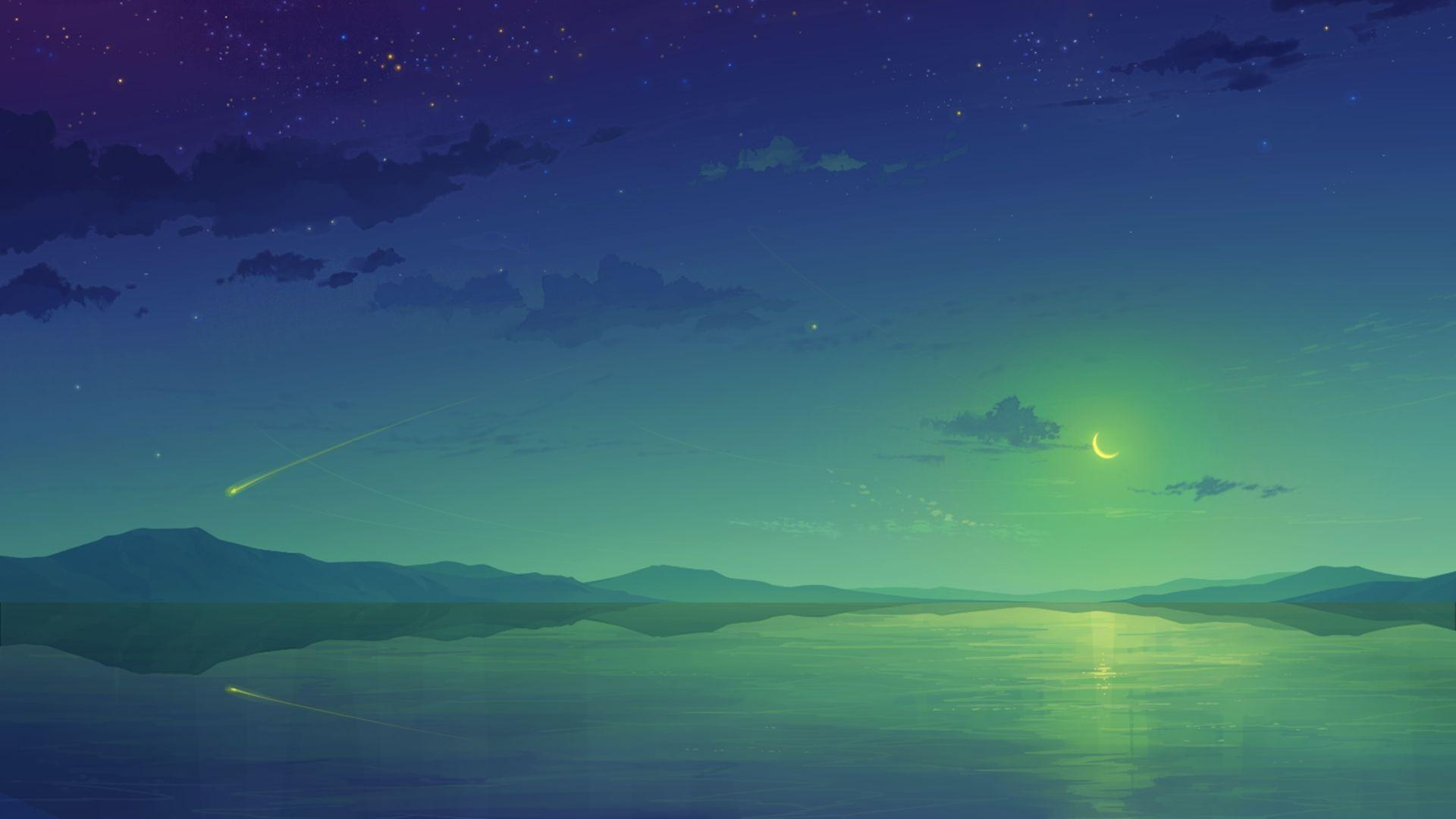 1920x1080 Anime Night Sky Wallpapers - Wallpaper Cave