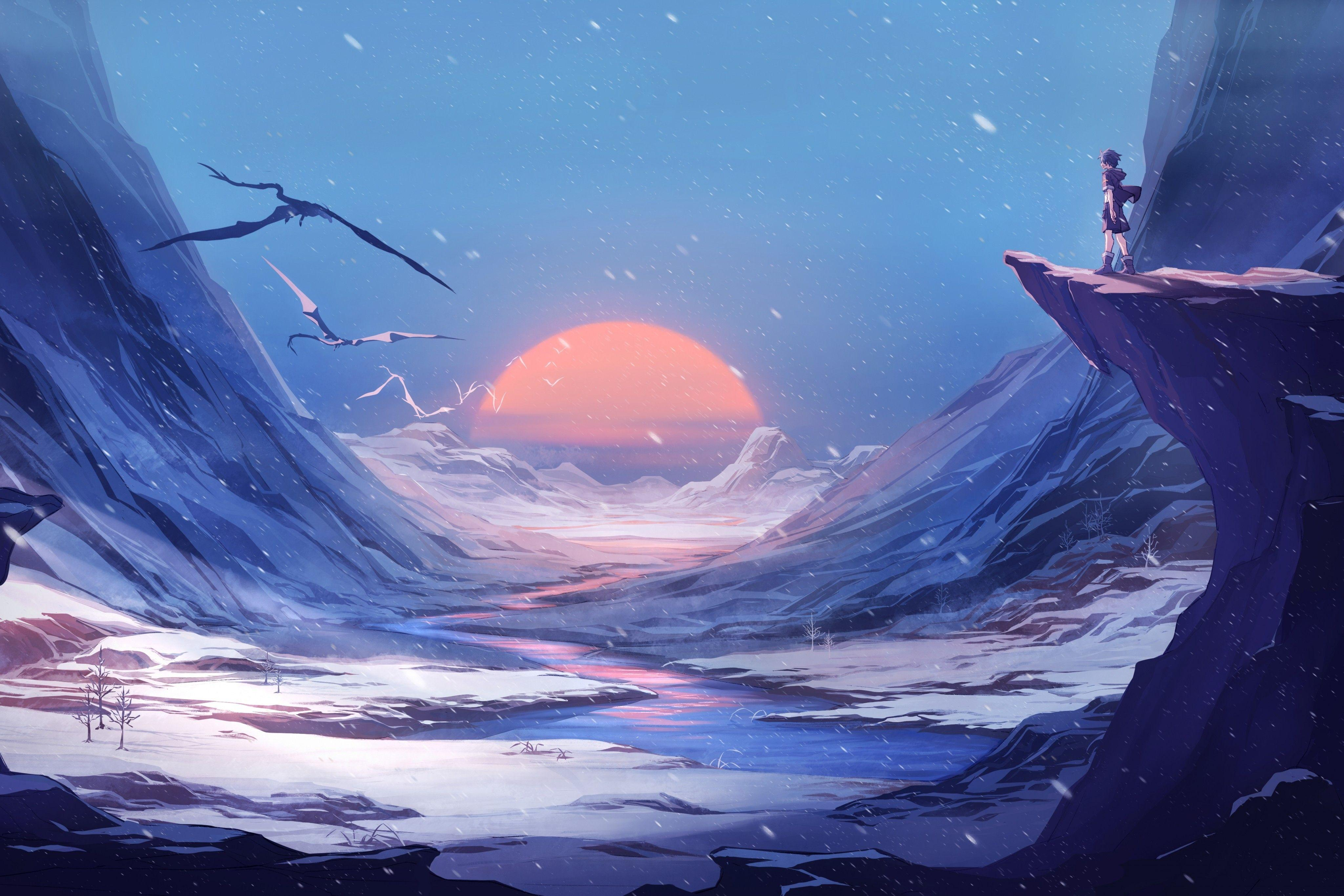 Snow Winter Anime Wallpapers - Wallpaper Cave