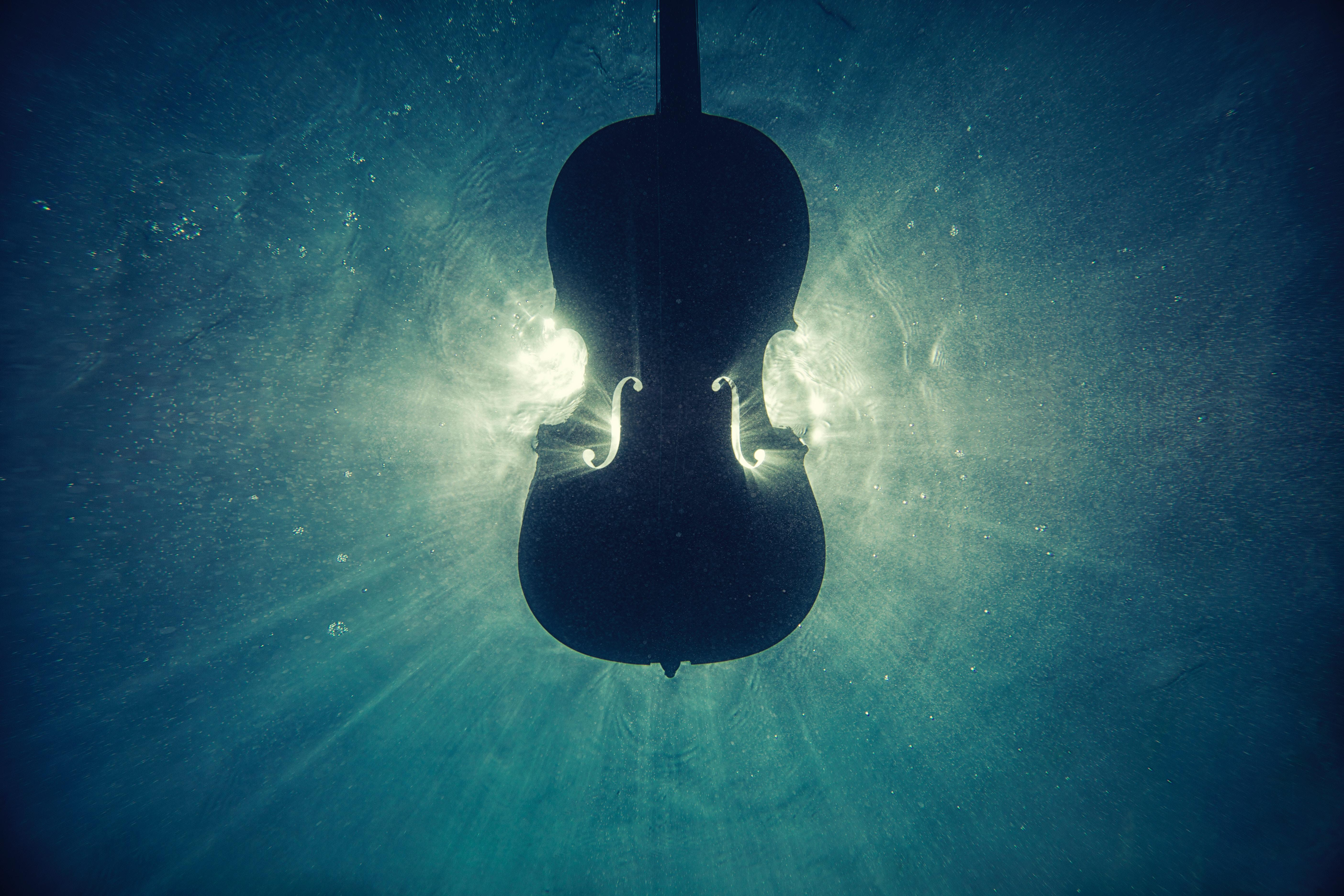 Wallpapers Wooden Cello, Underwater, 5K, Music,