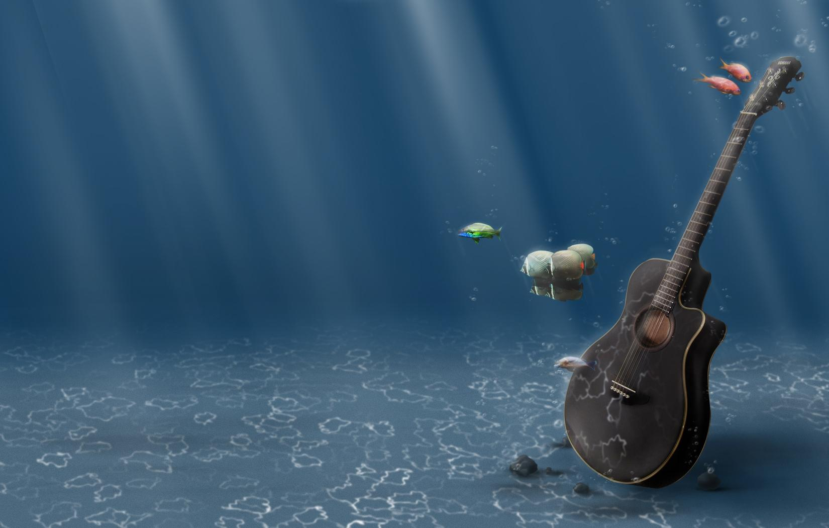 guitars underwater fishes 1650x1050 wallpapers High Quality