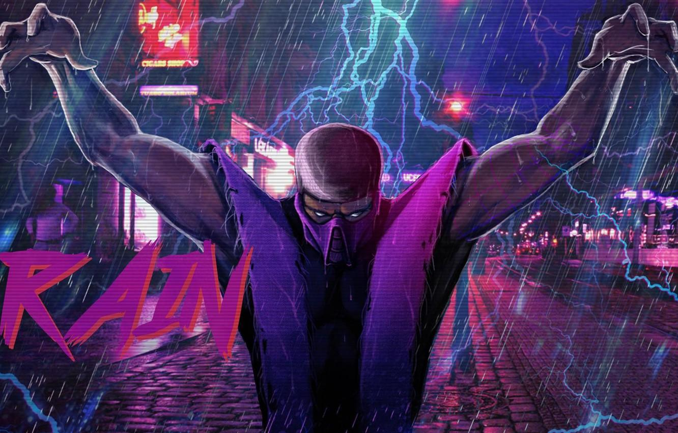Wallpapers Figure, Music, Rain, Background, Zipper, Art, Mortal Kombat, Rain, Synth, Retrowave, Synthwave, New Retro Wave, Futuresynth, Sintav, Retrouve, Outrun image for desktop, section арт