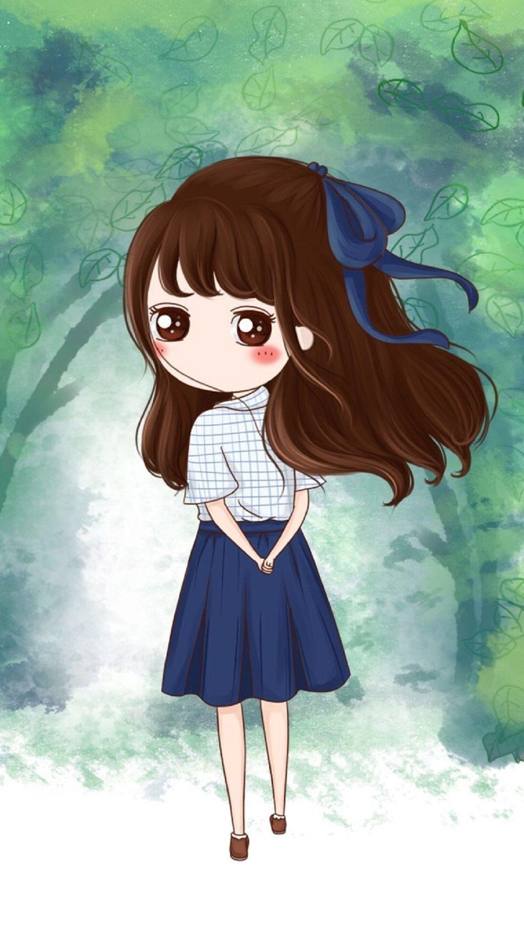Anime Cute Girl Cartoon Wallpapers Wallpaper Cave