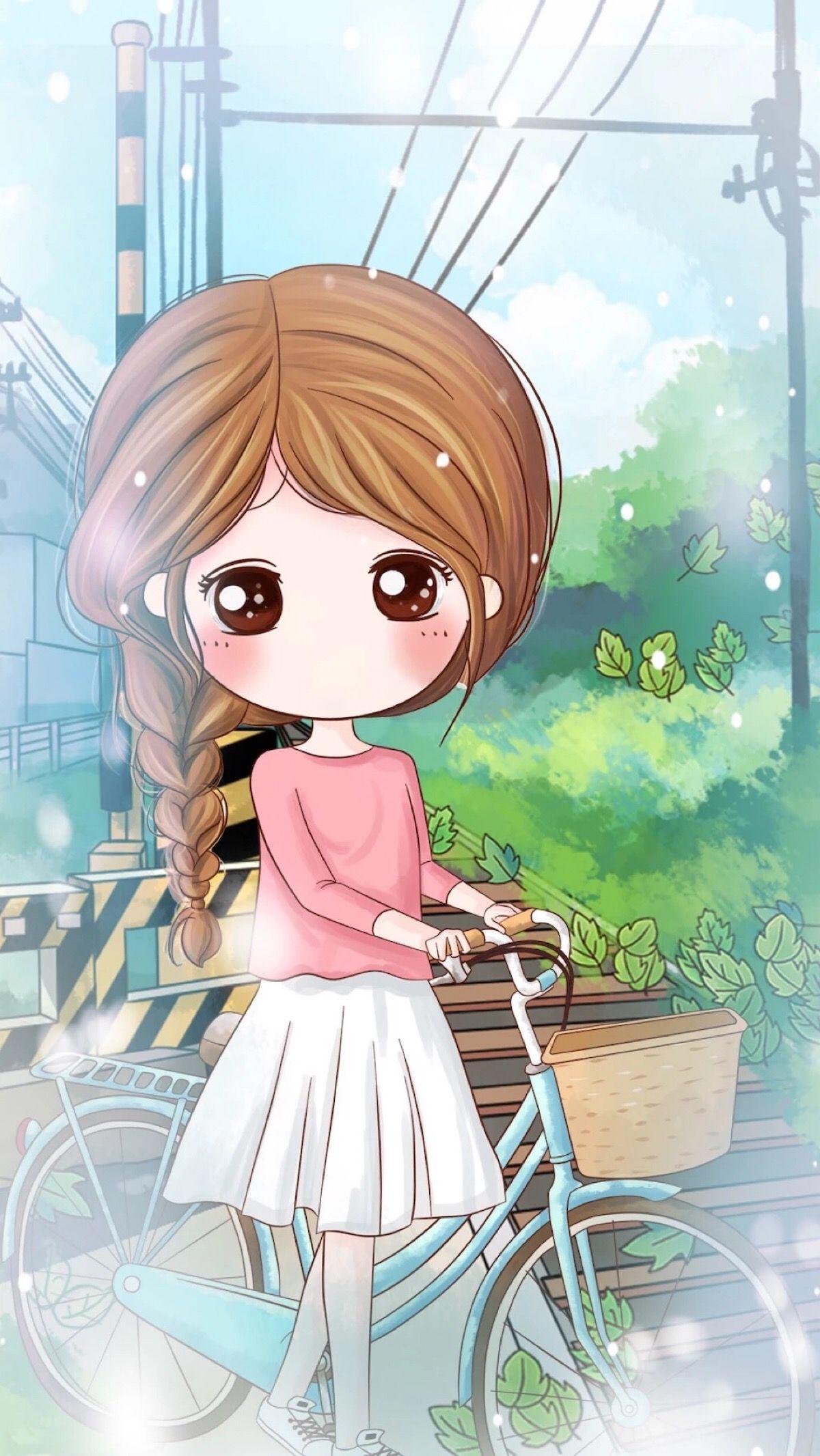 Anime Cute Girl Cartoon Wallpapers - Wallpaper Cave