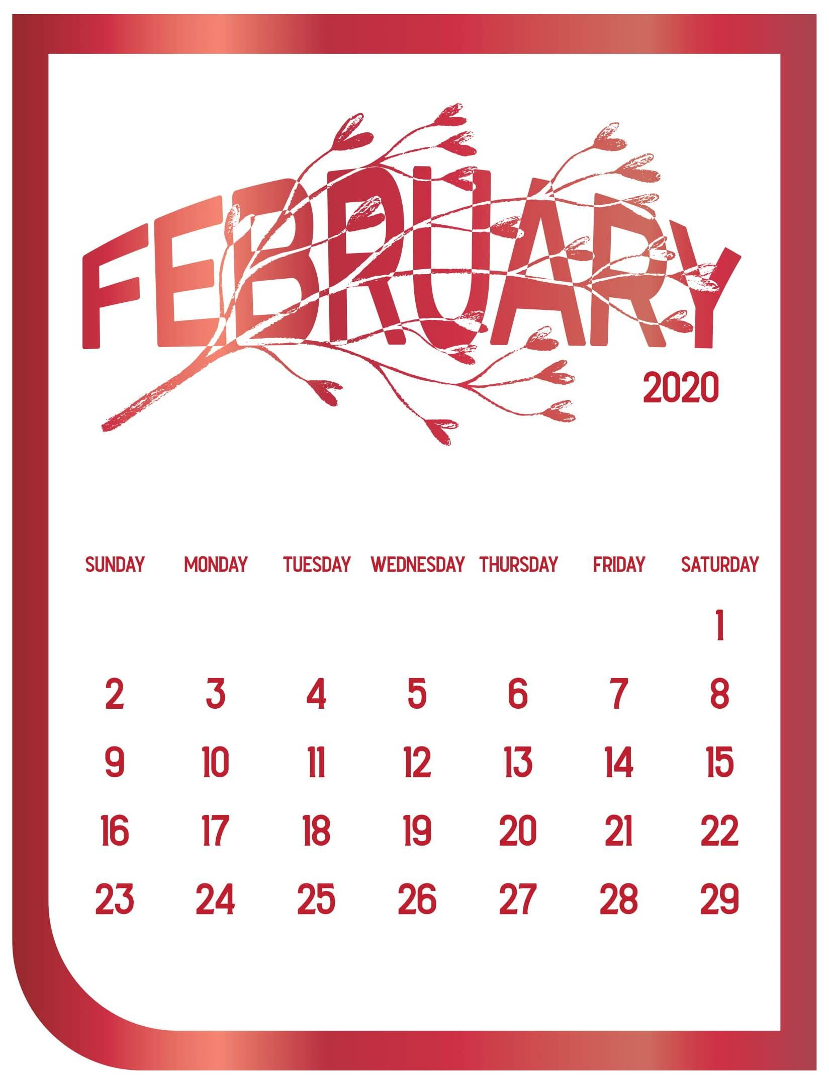 Cute February 2020 Calendar with Notes Printable