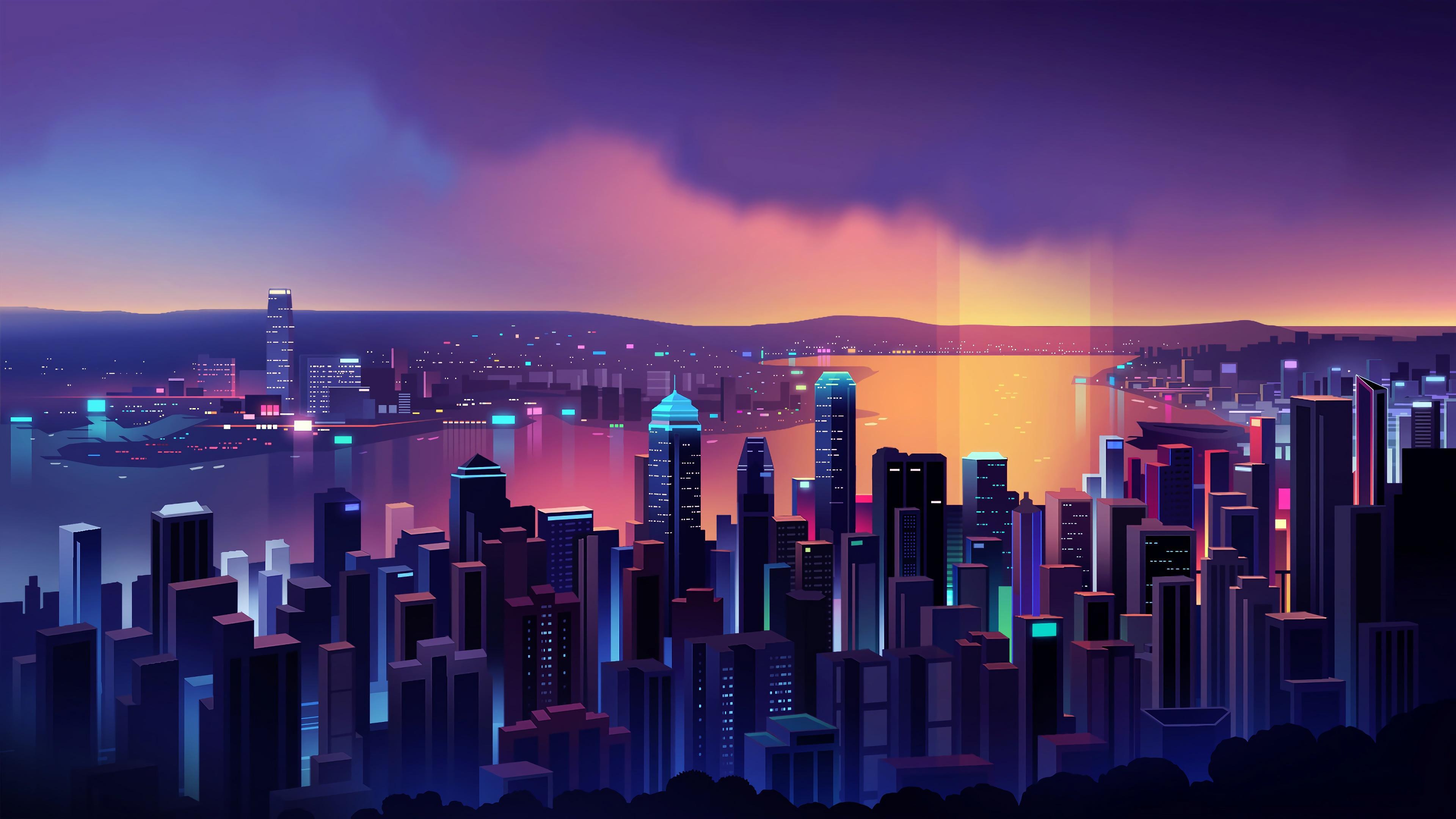 Anime Neon City Wallpapers - Wallpaper Cave