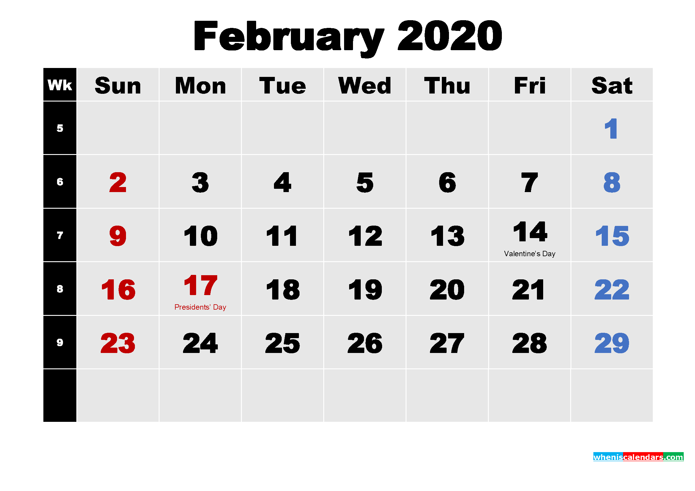 Free download Printable 2020 Calendar with Holidays February