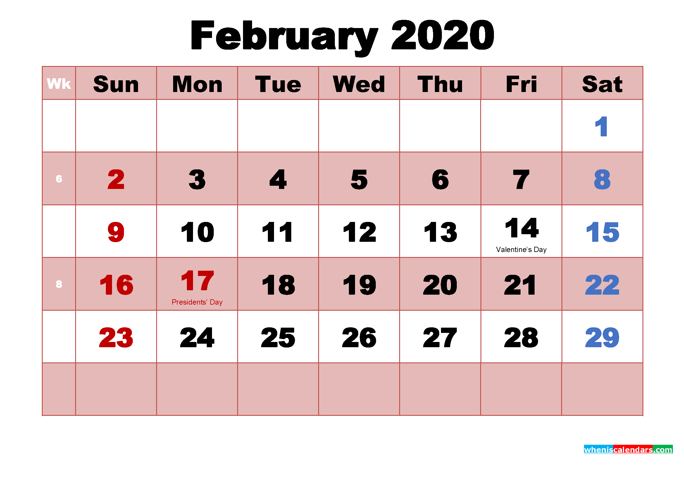 February 2020 Calendar with Holidays Wallpapers