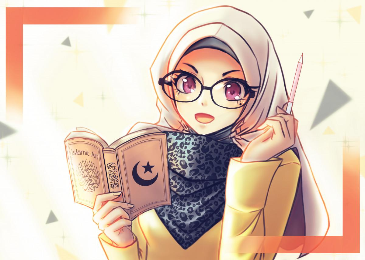 Female Anime Hijab Glasses Wallpapers - Wallpaper Cave