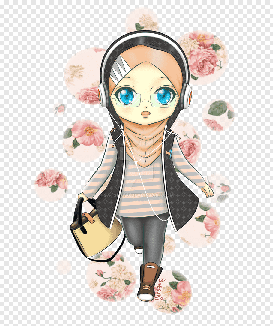 Female profile wearing headset illustration, Chibi Anime Hijab