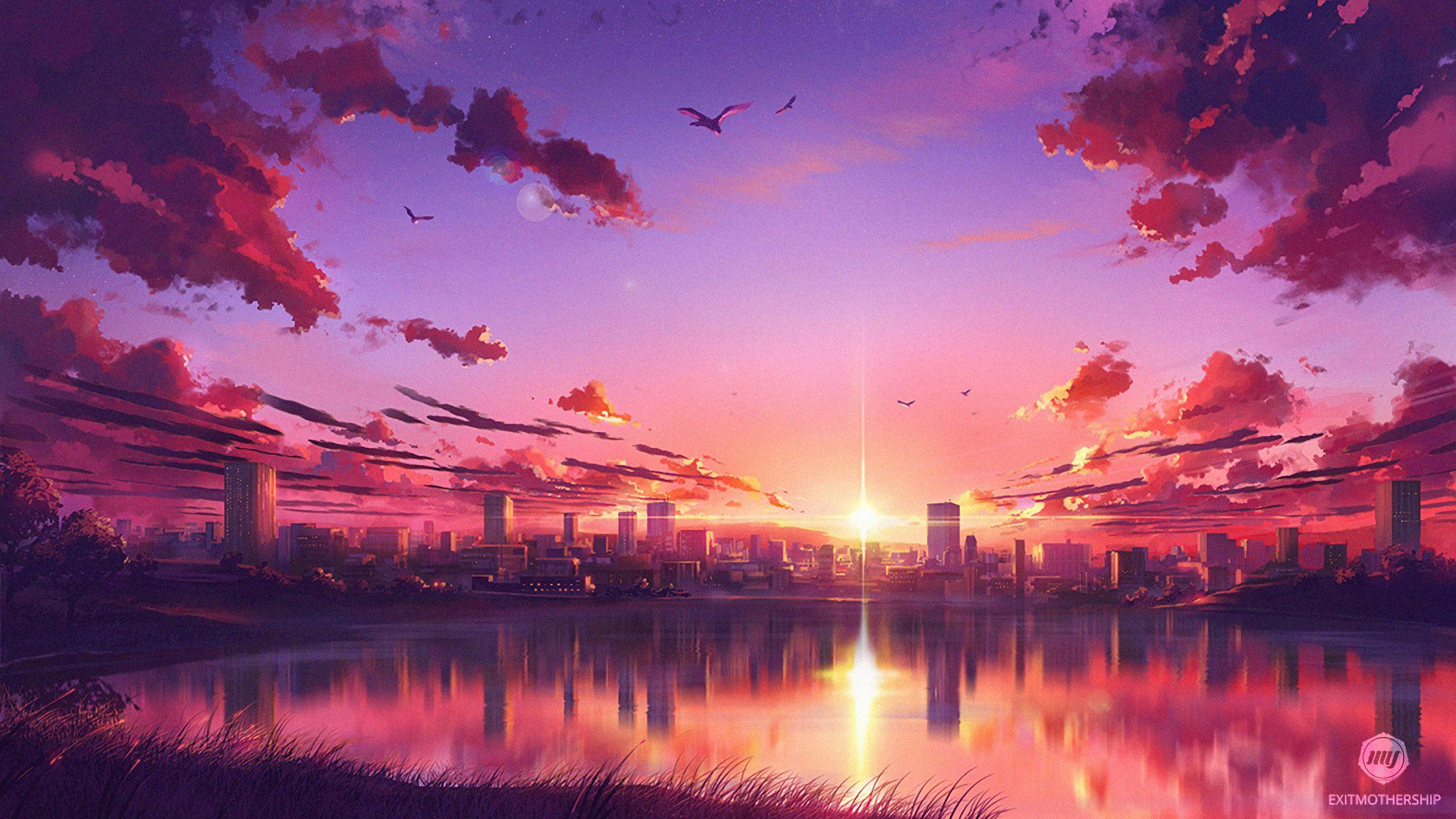 Aesthetic Anime Sunset Wallpapers Wallpaper Cave