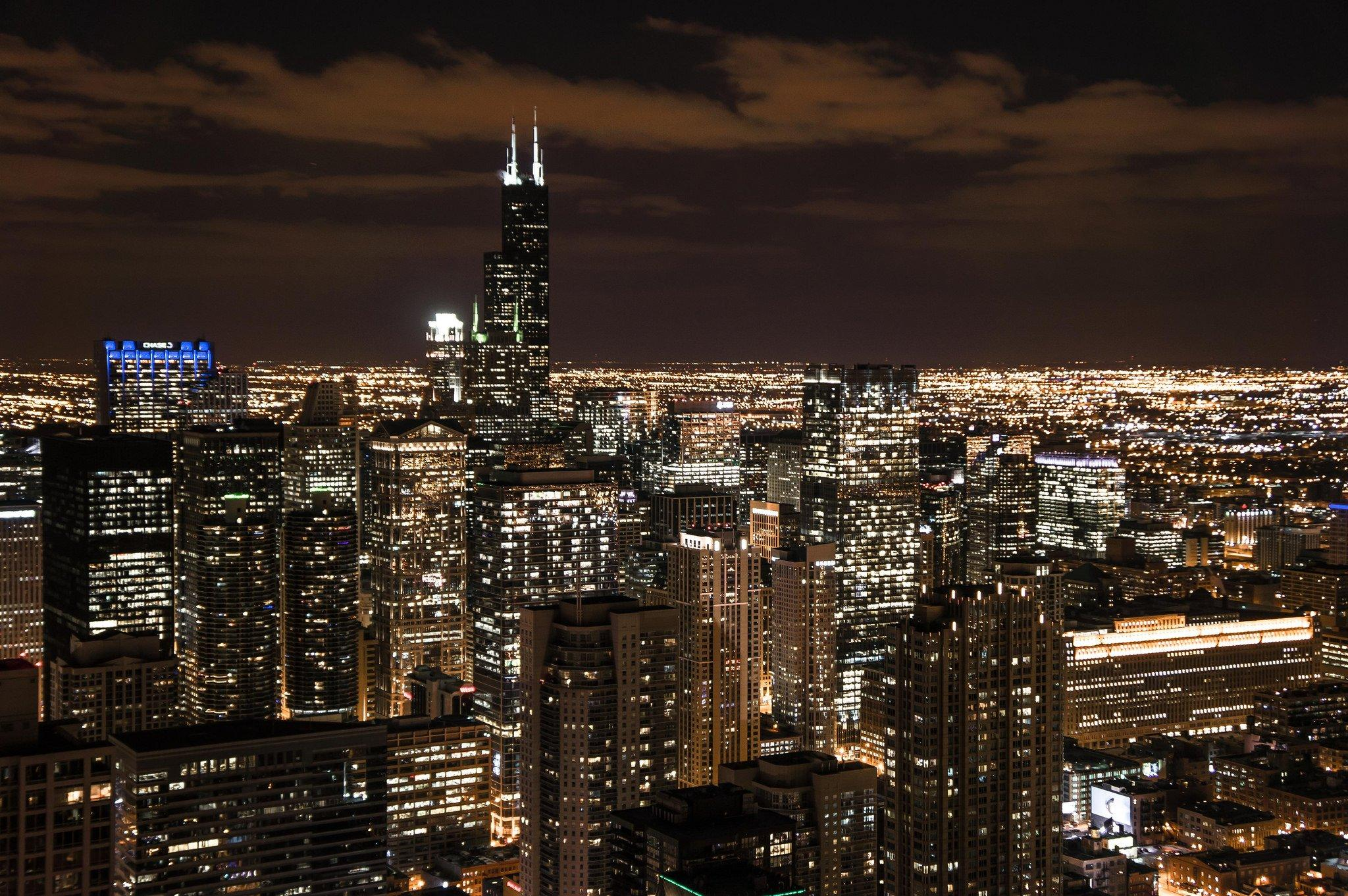 Chicago Night Cityscape Wallpapers Wallpaper Cave