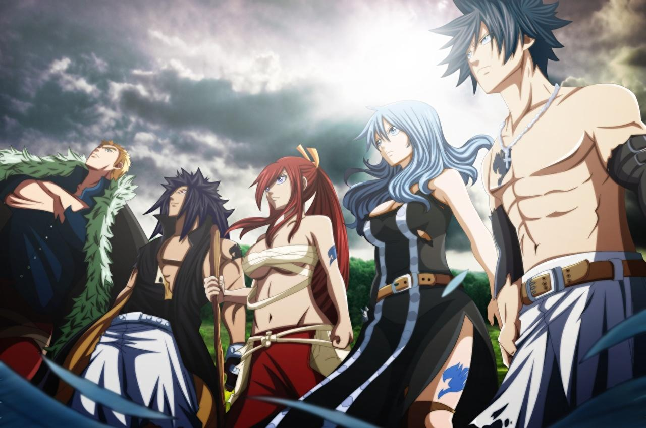 Wallpapers Fairy Tail Young Man Erza Scarlet Gray Fullbuster