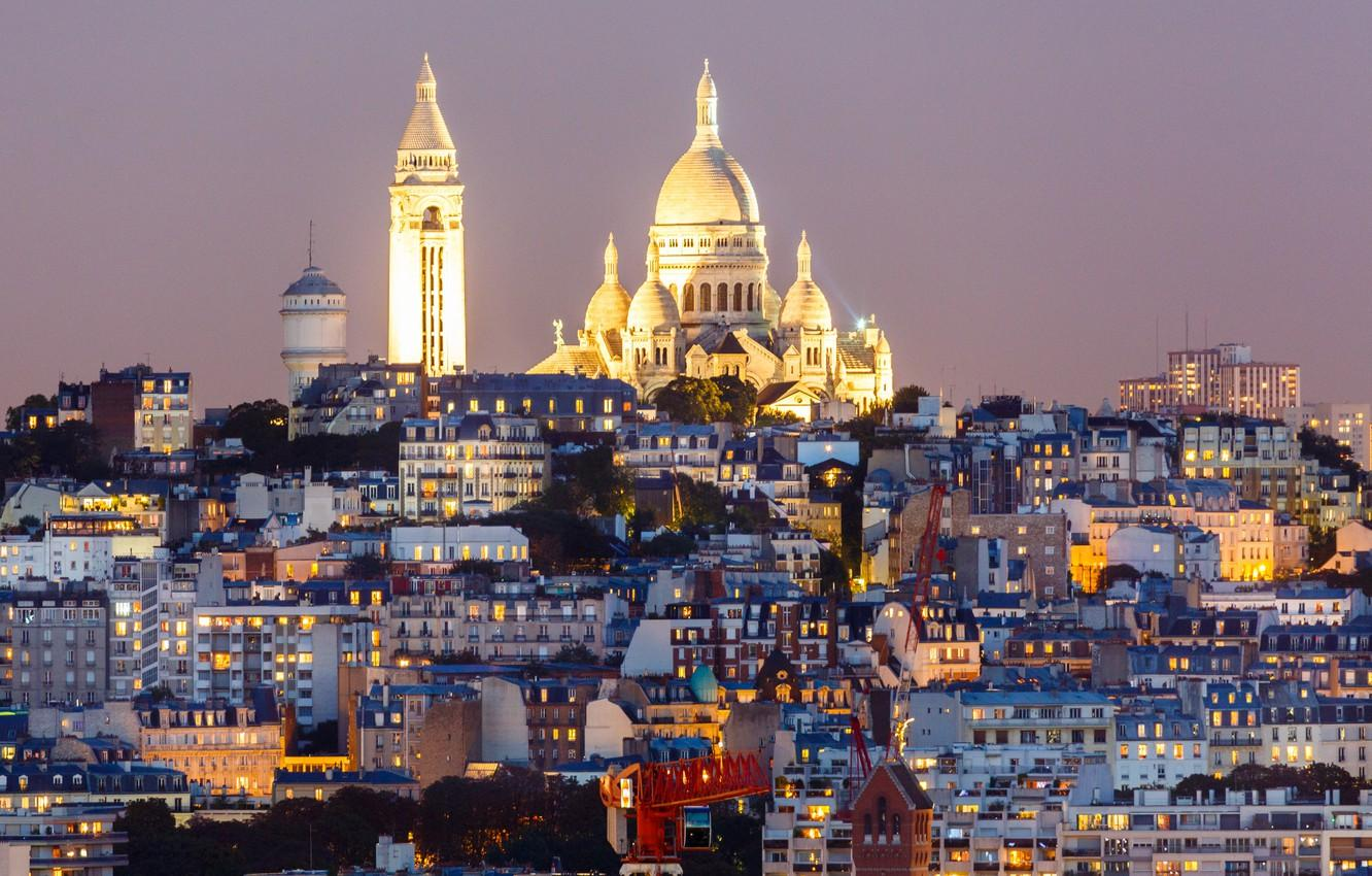 Wallpapers night, lights, France, Paris, home, hill, Montmartre