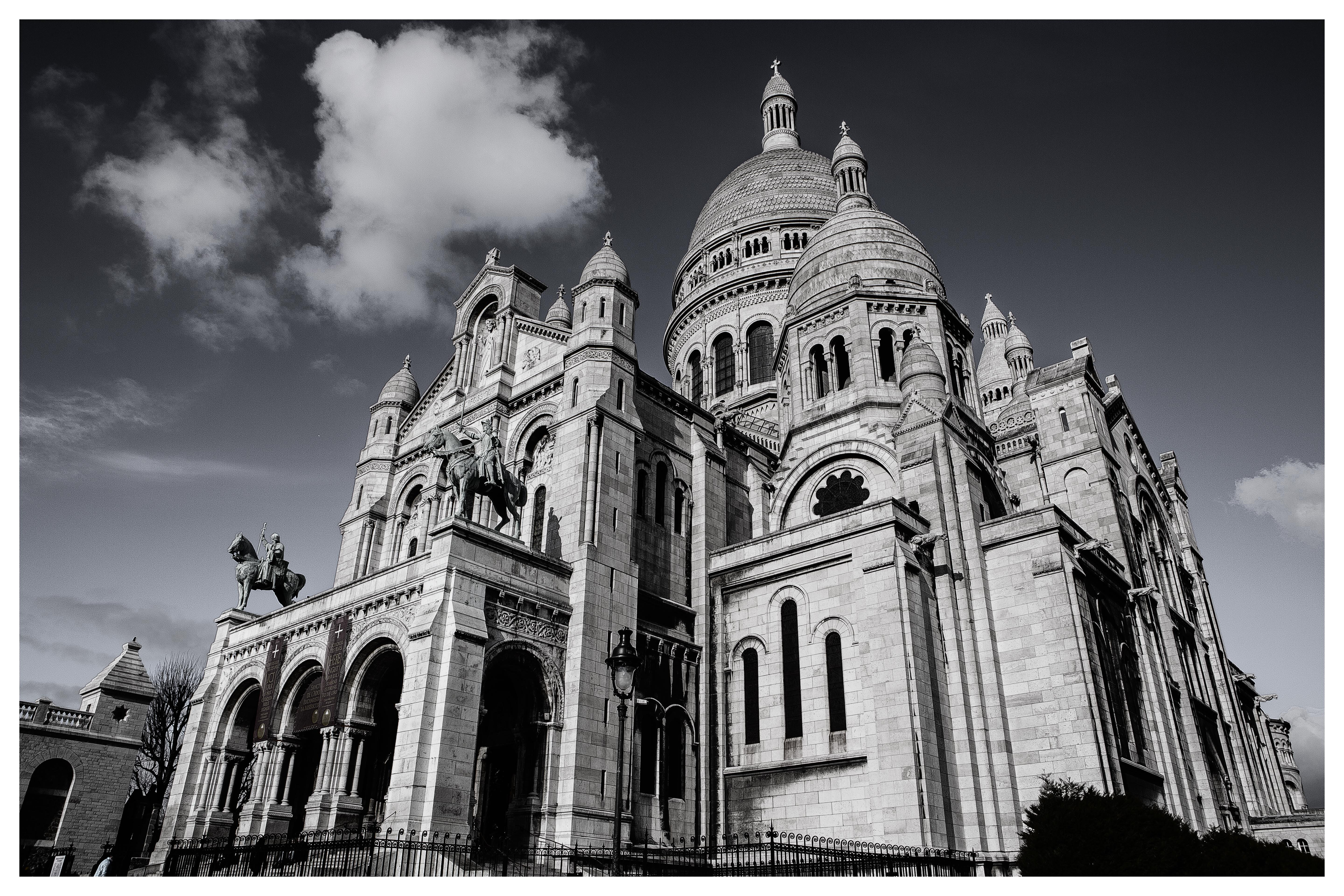 Grayscale photography of cathedral, Paris, Montmartre, cathedral