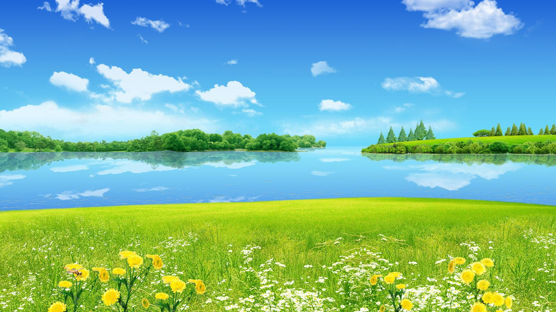 Sunny Day At The Lake Wonderful Spring Season Wallpapers