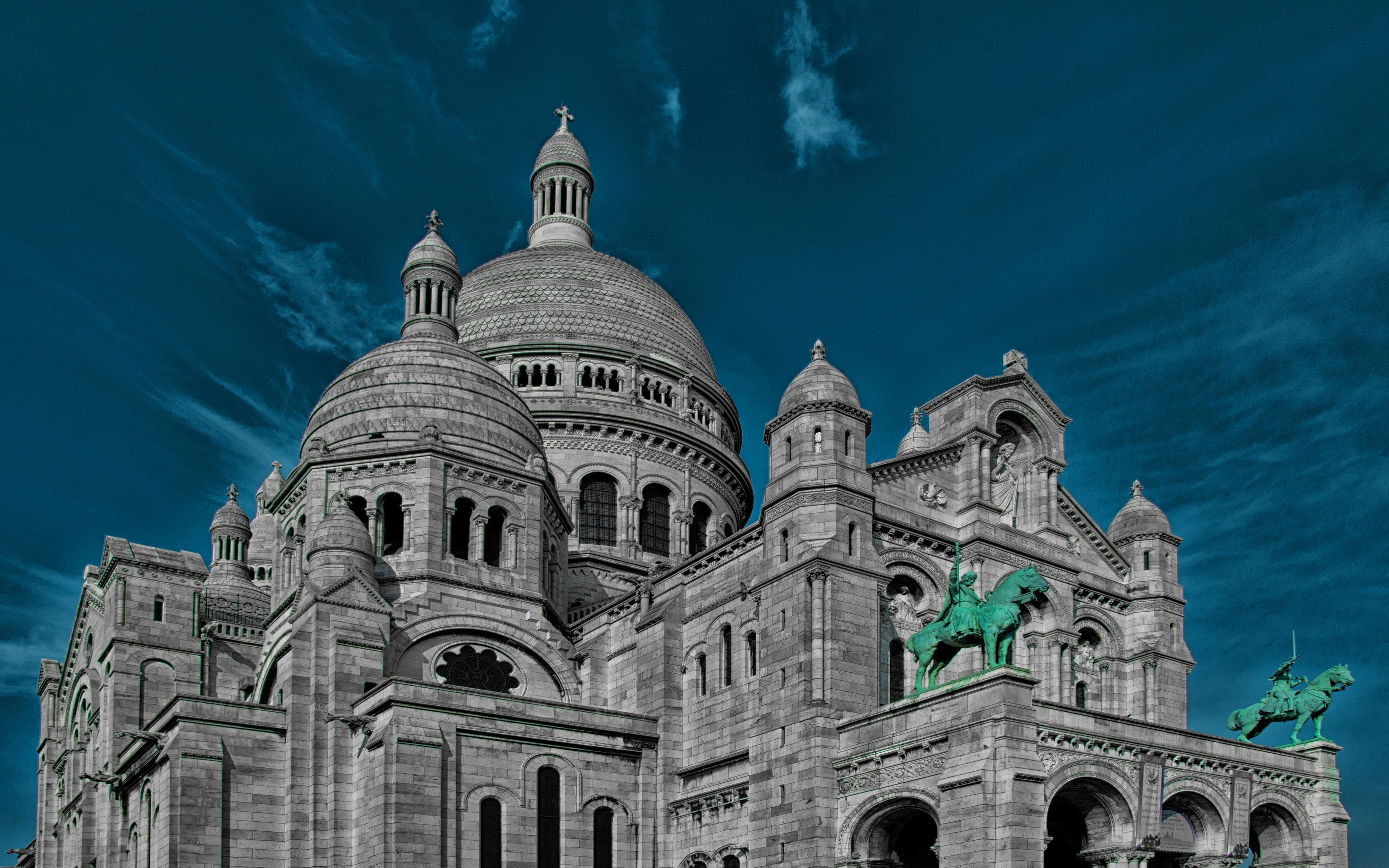 Download wallpapers Sacre Coeur, 4k, french landmarks, church