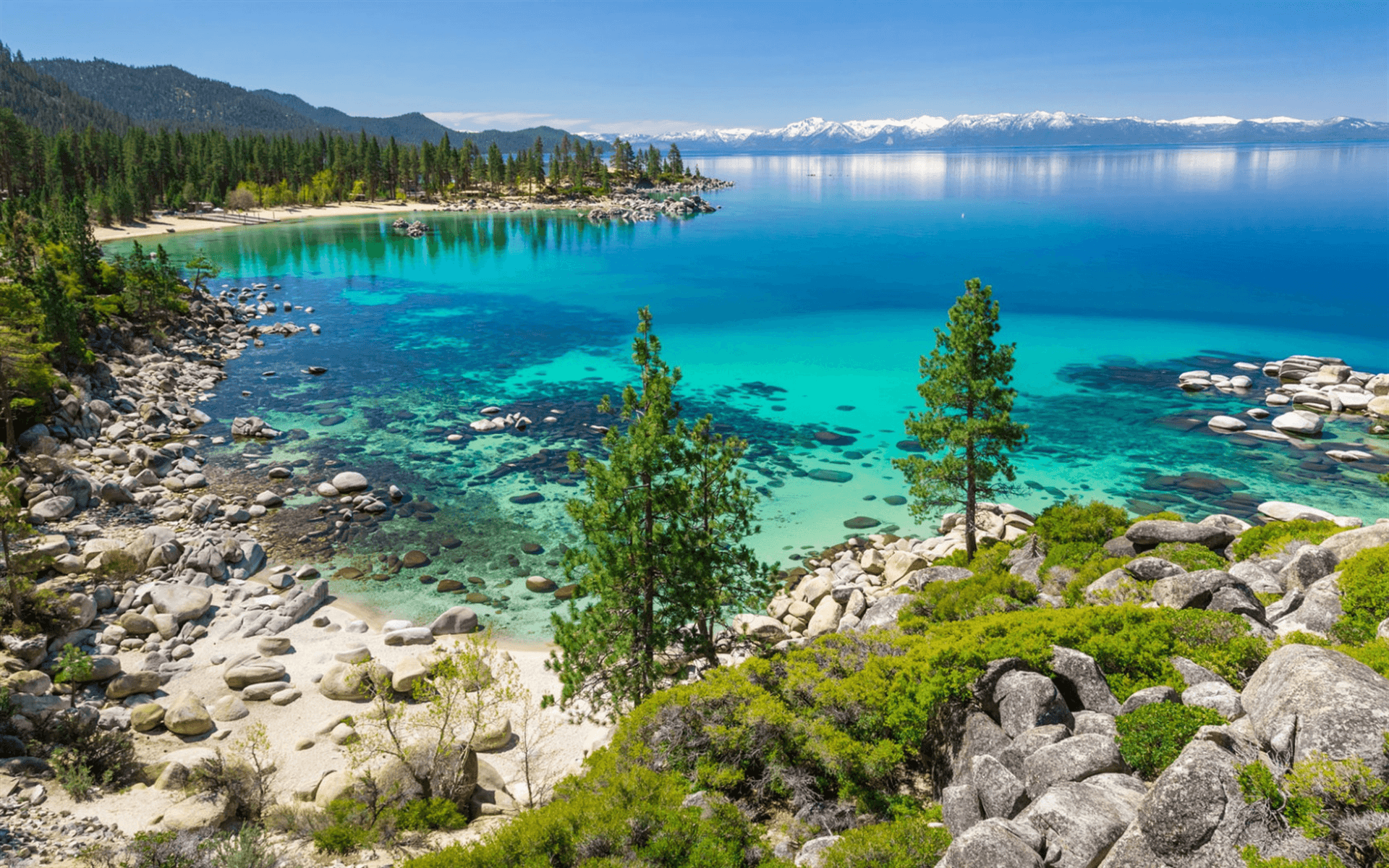 Download wallpapers Lake Tahoe, spring, sunny day, blue lake
