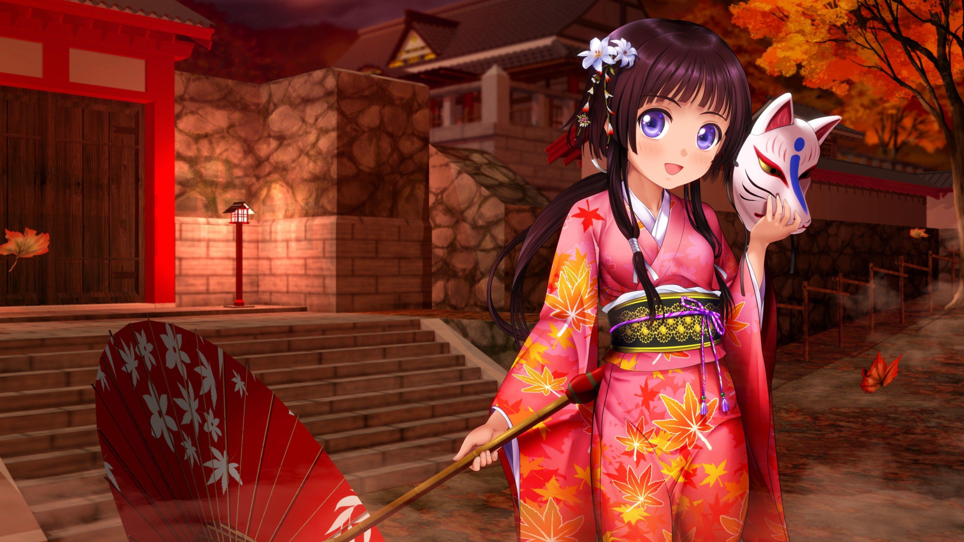 Download wallpaper 3840x2400 girl, umbrella, anime, rain