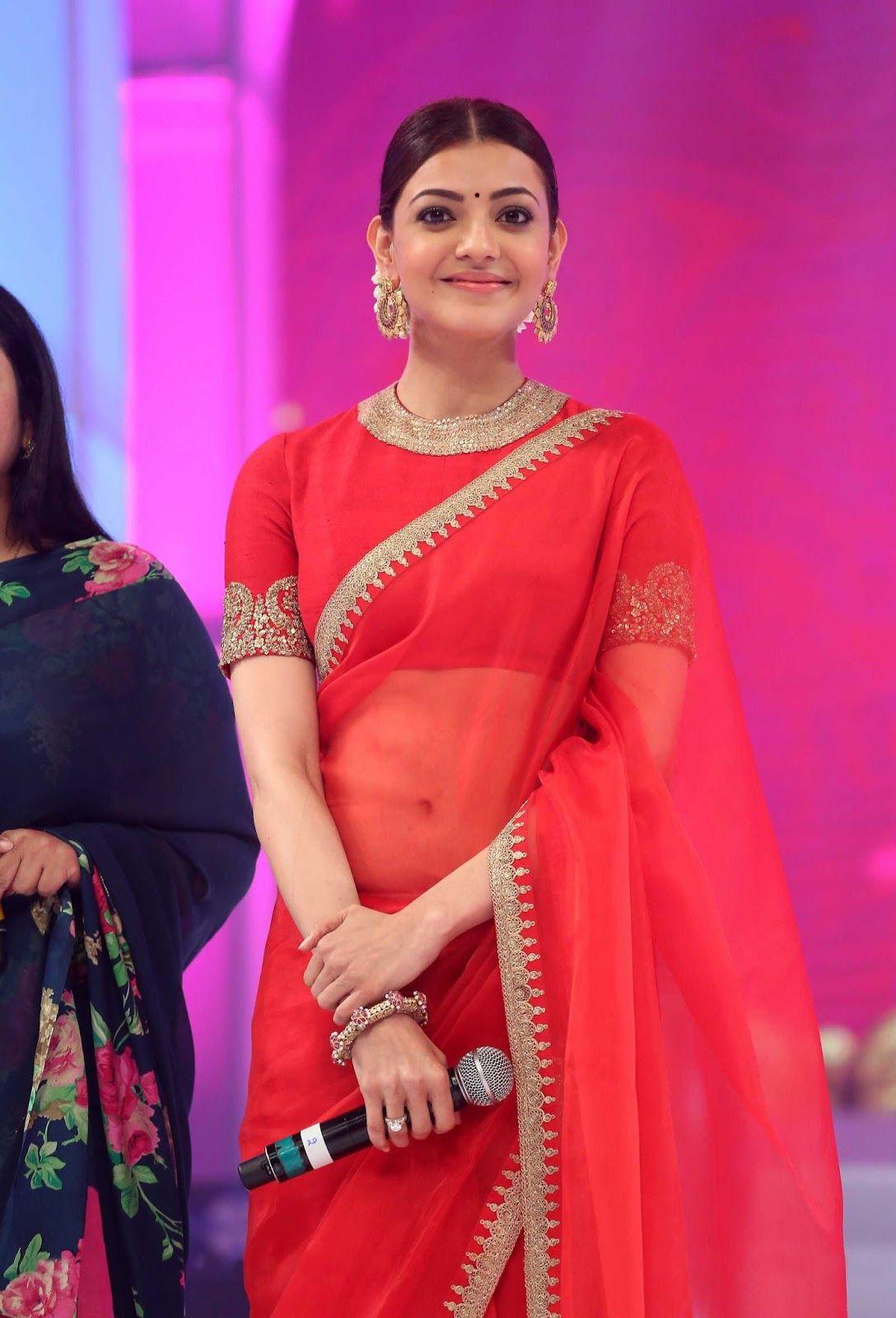 Kajal Agarwal Navel Show Photos In Red Saree