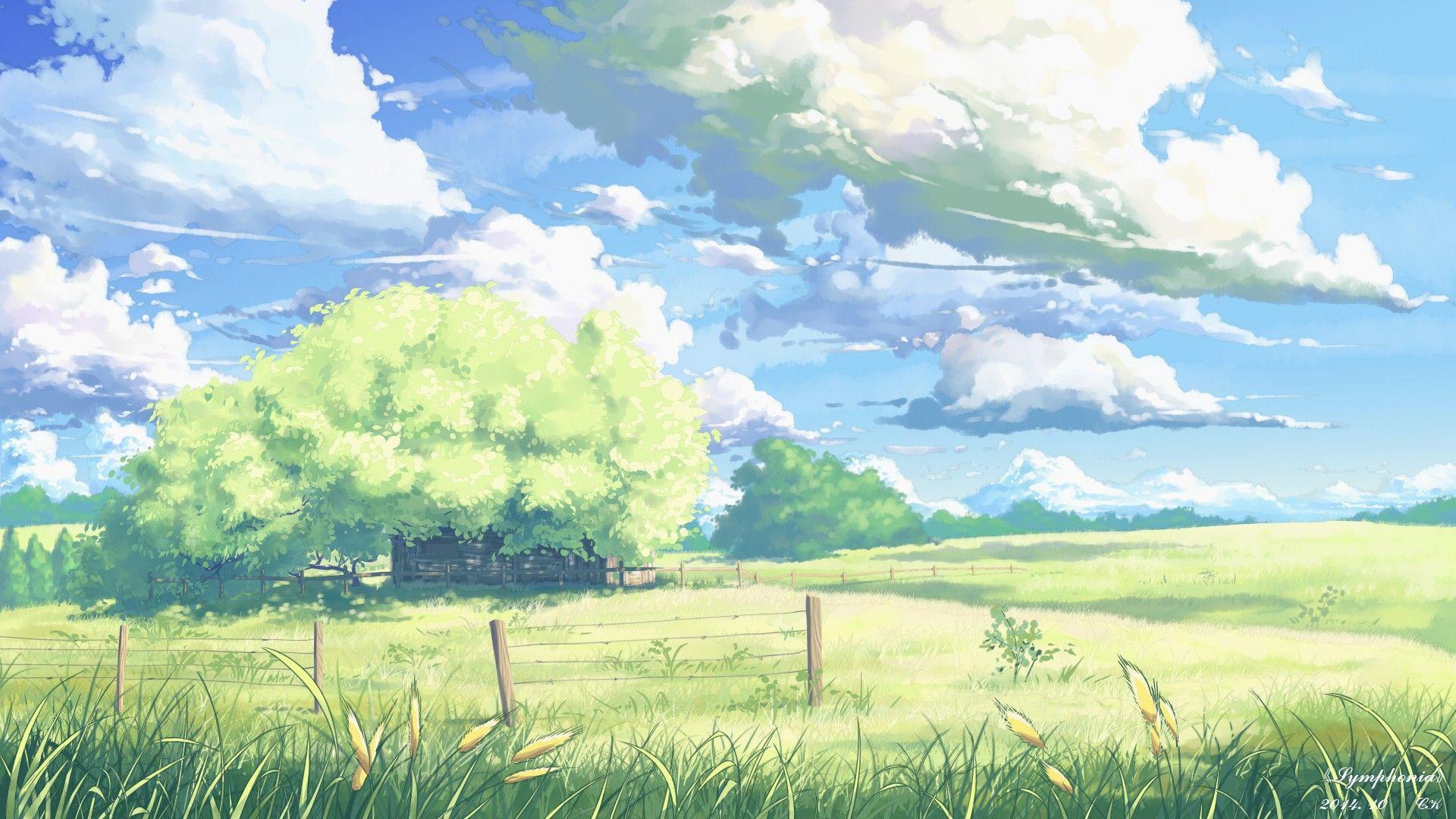 30+ Anime Flower Field Art JPG