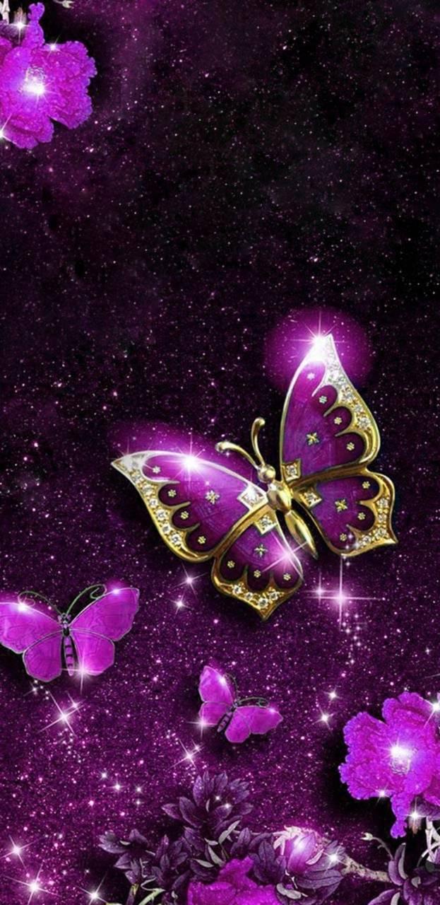 Aesthetic Sparkles Purple Butterflies Wallpapers ...