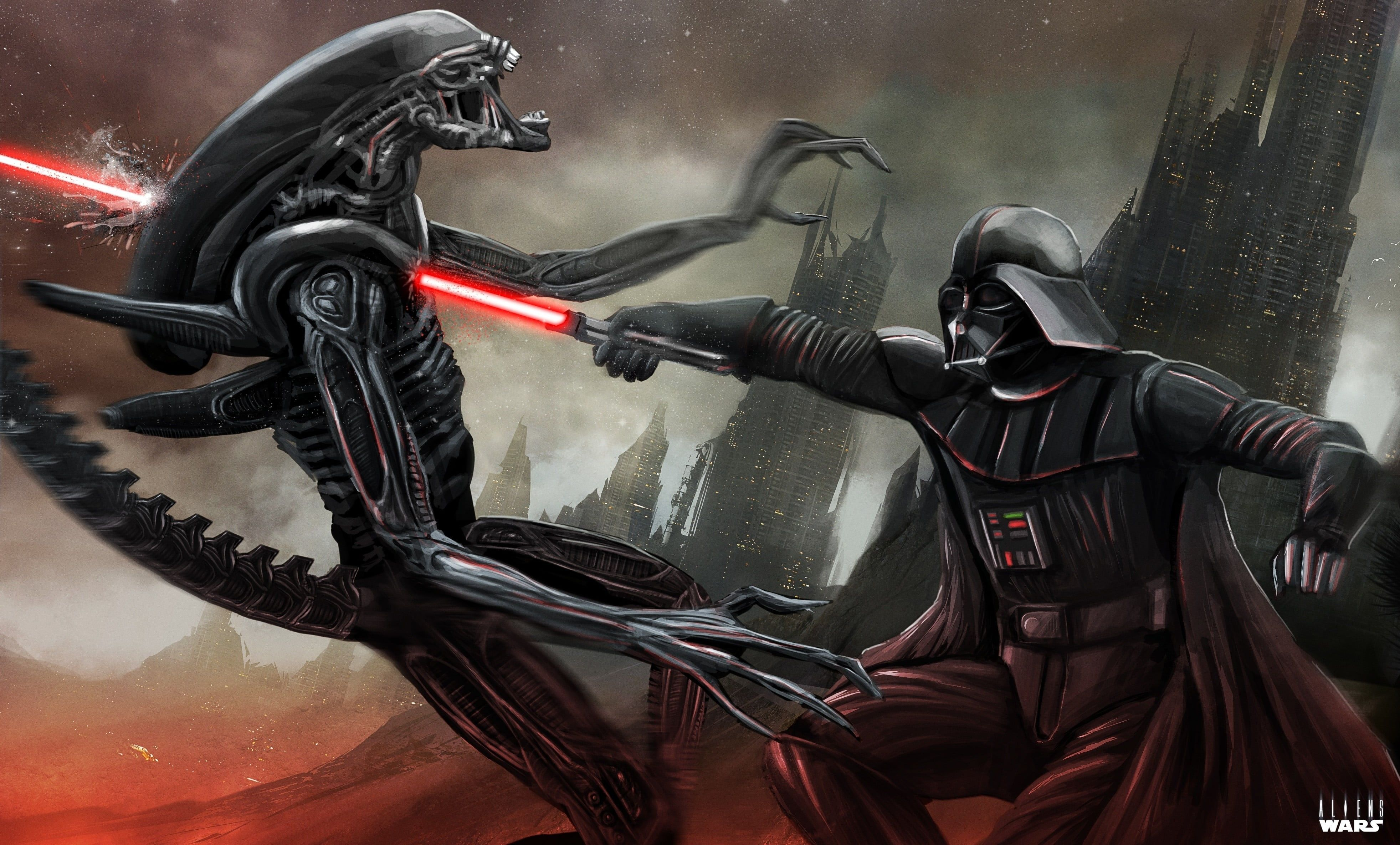 Darth Vader Star Wars Vs Aliens Fantasy Sci Fi 4k Wallpapers Wallpaper Cave