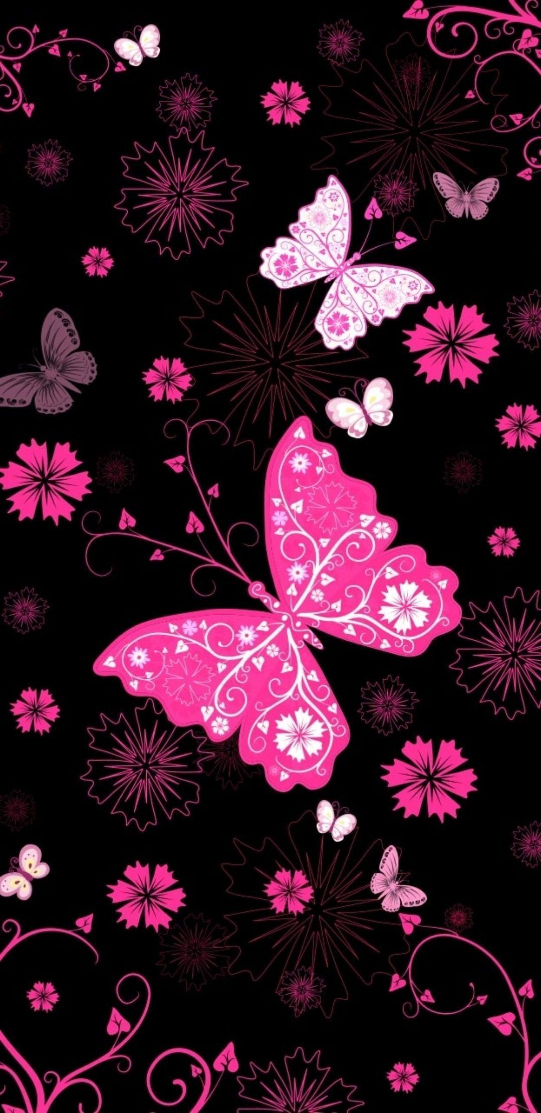 Pink Butterfly Iphone Wallpapers Wallpaper Cave