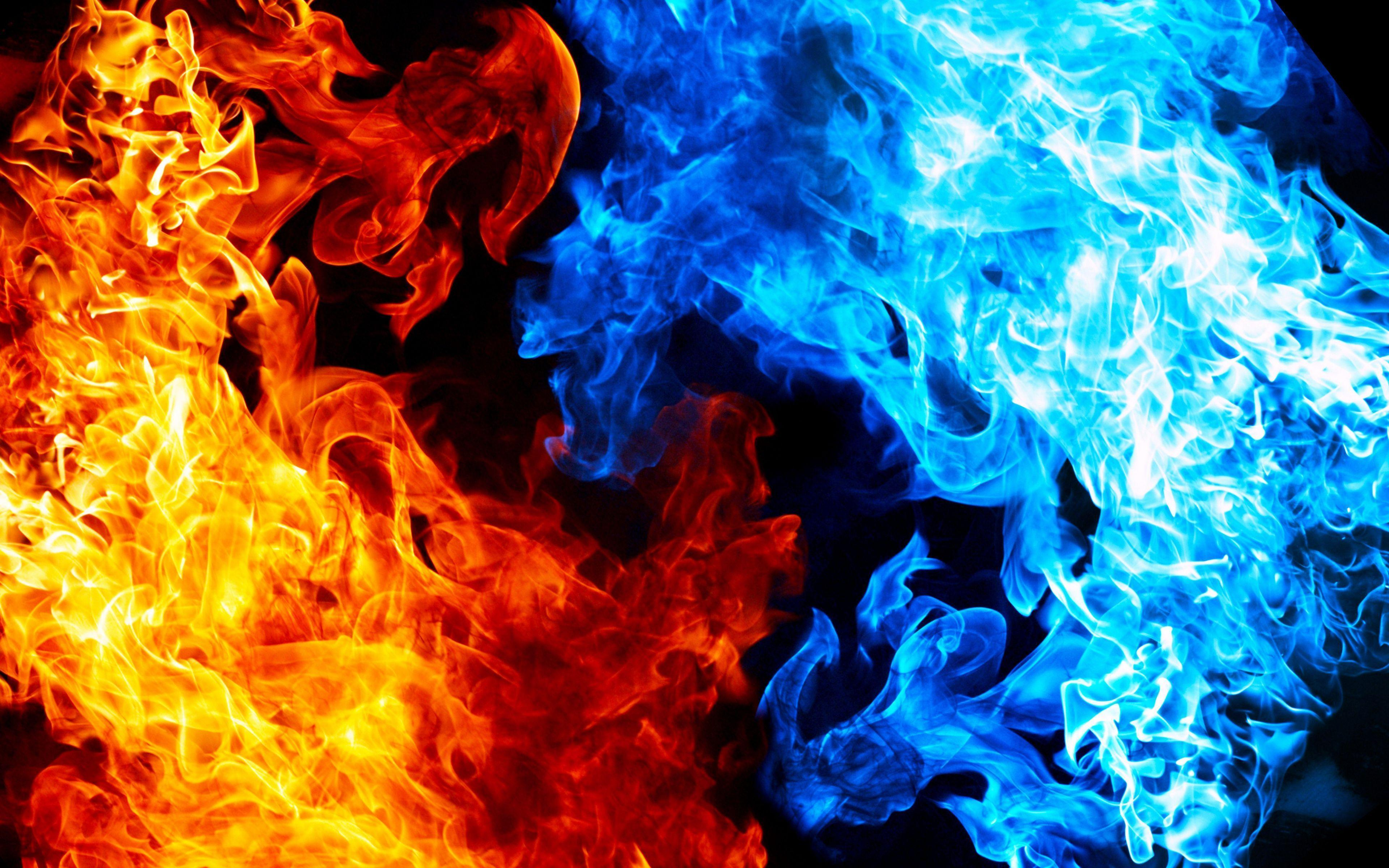 Fire And Ice Red And Blue Anime Wallpapers Wallpaper Cave