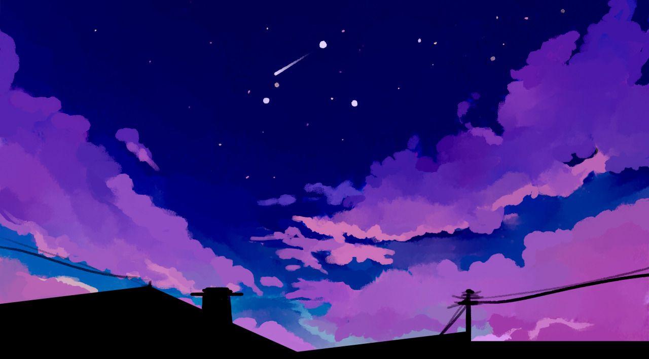 Purple Aesthetic Anime Desktop Wallpapers - Wallpaper Cave