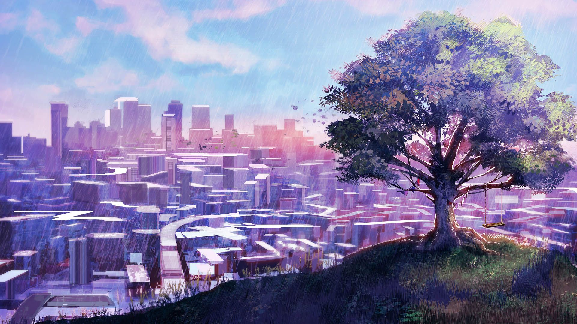 Purple Anime Scenery Wallpapers - Wallpaper Cave