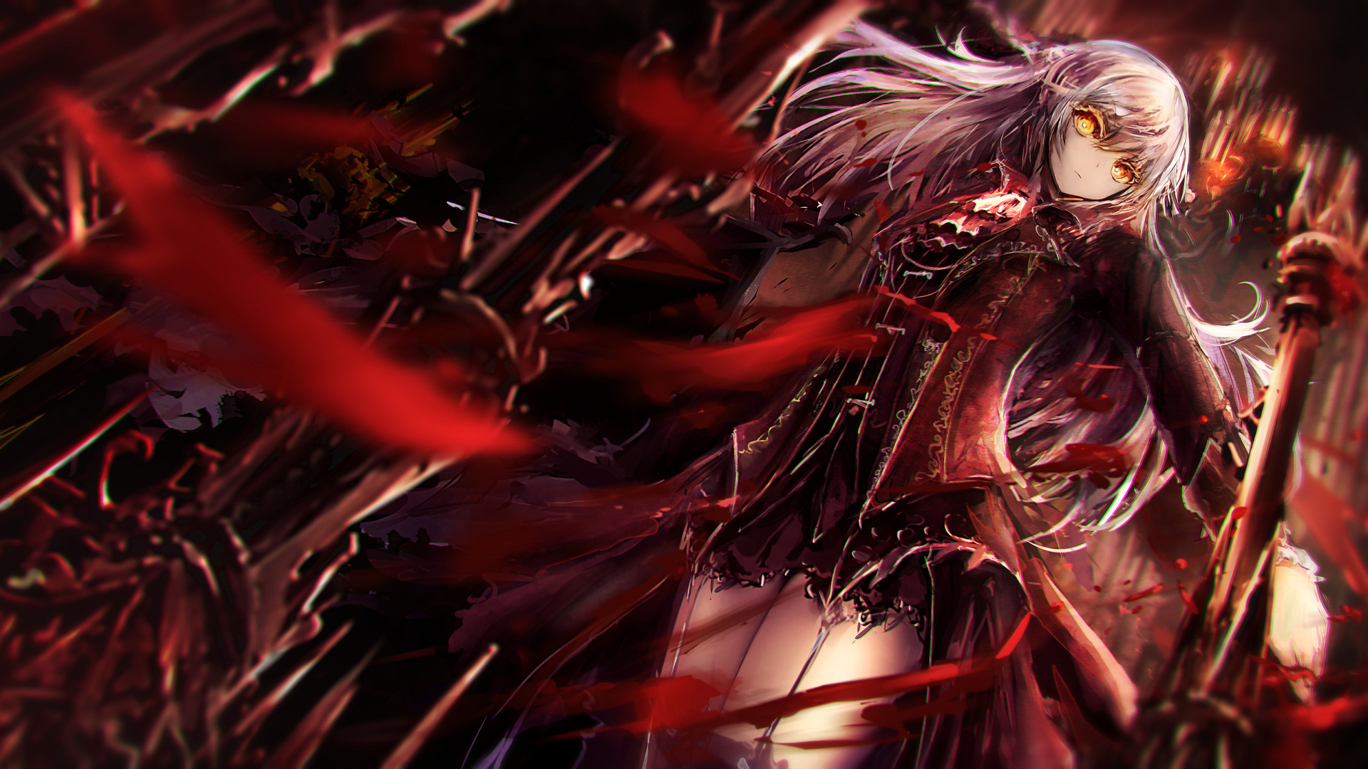 Download 1920x1080 Anime Girl, Worm View, Dress, Sword Wallpapers