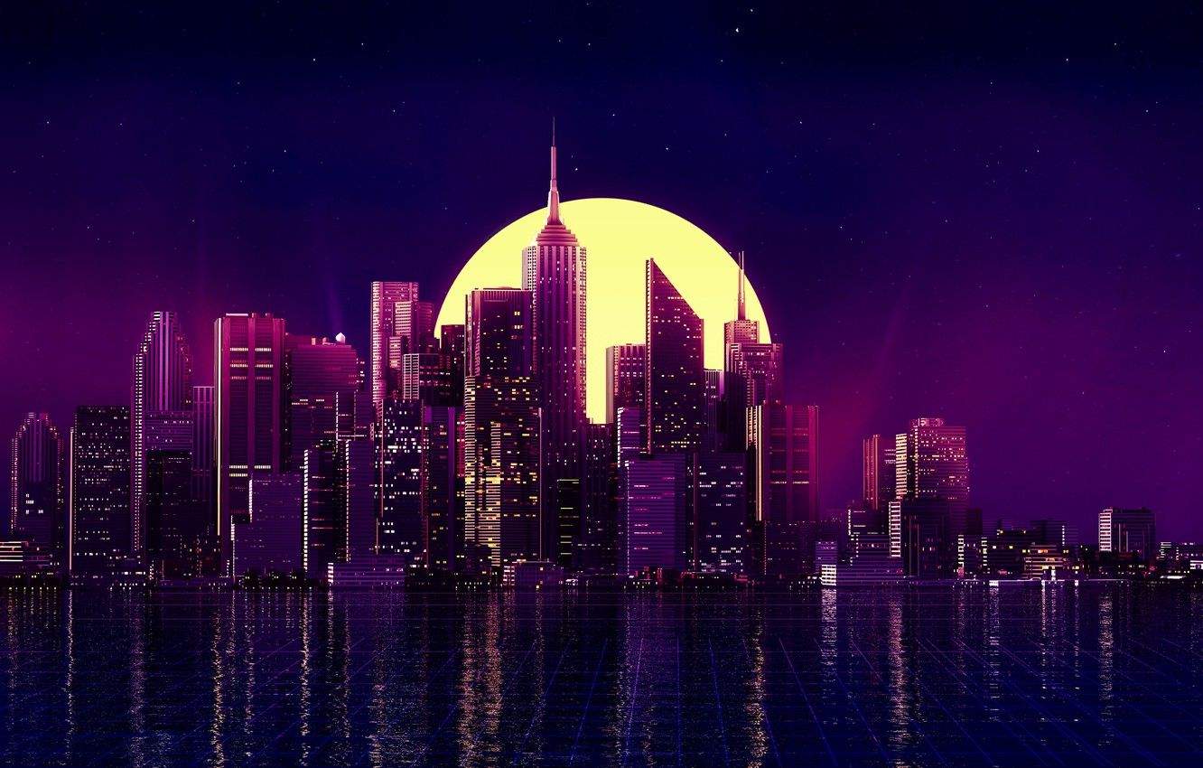 Wallpapers water, landscape, night, city, lights, retro, the moon, The city, moon, water, night, retro image for desktop, section минимализм