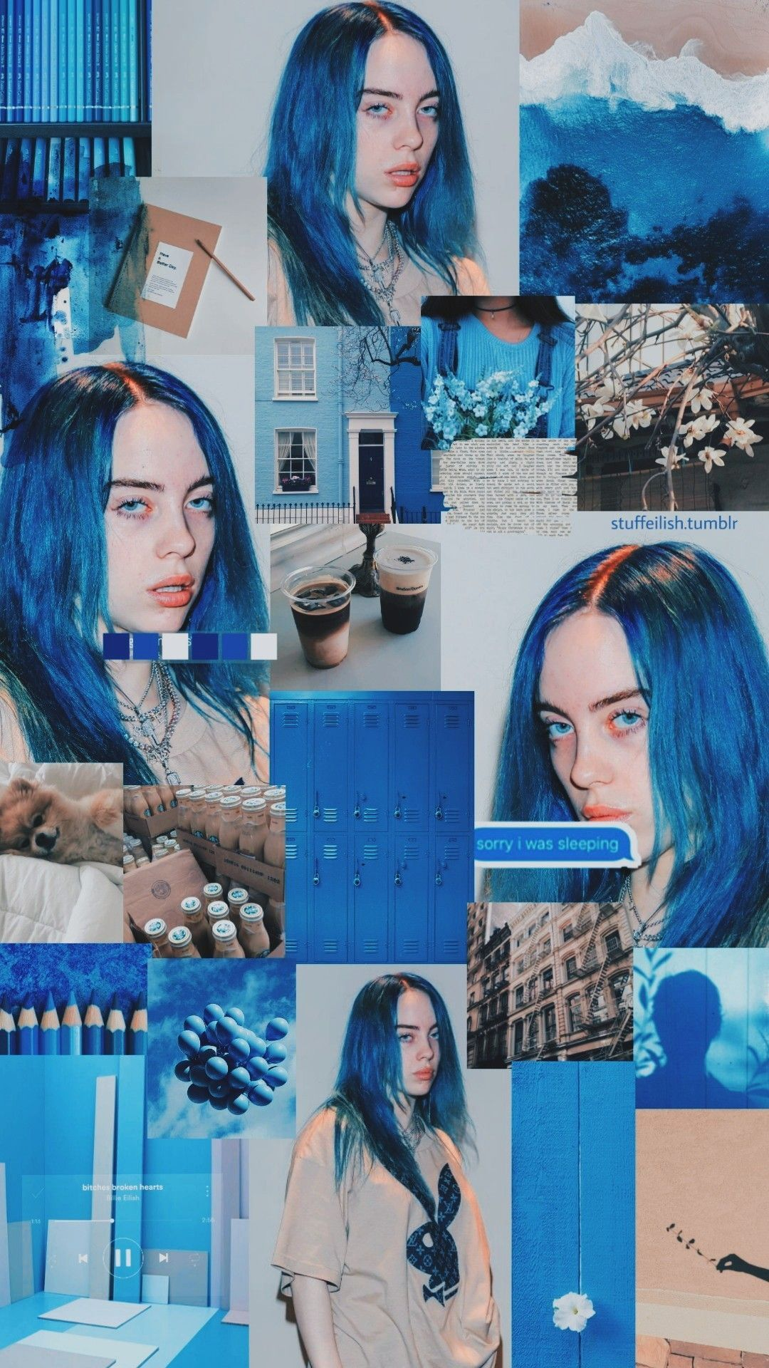 billie eilish aesthetic blue wallpapers